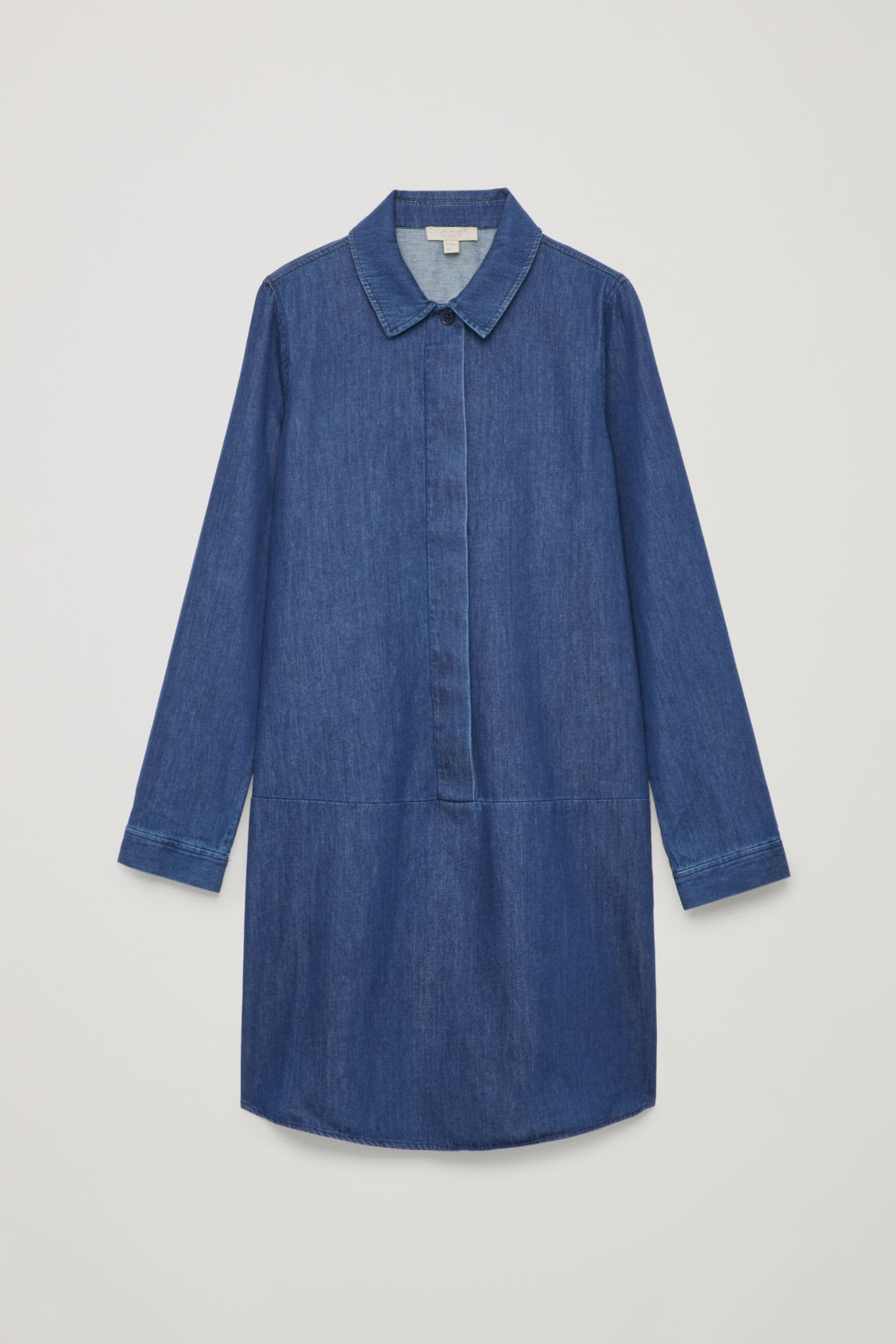 Front image of Cos a-line denim shirt dres in blue