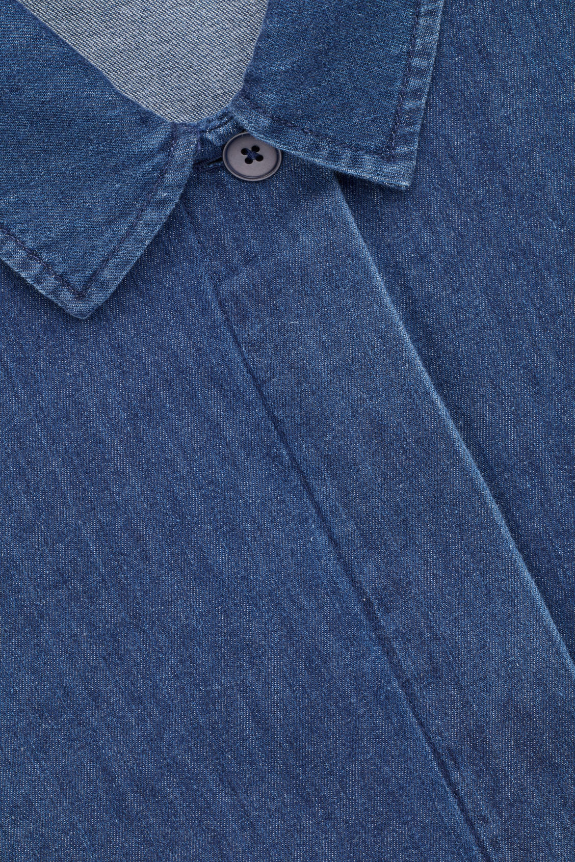 Side image of Cos a-line denim shirt dres in blue