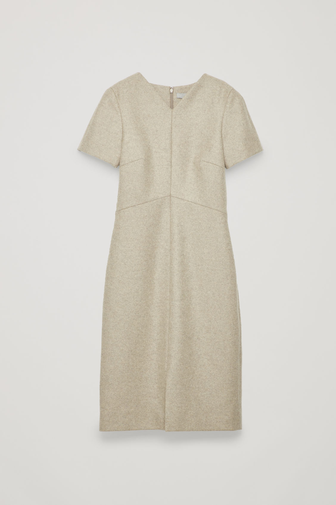 Front image of Cos wool-cashmere tailored dress in brown