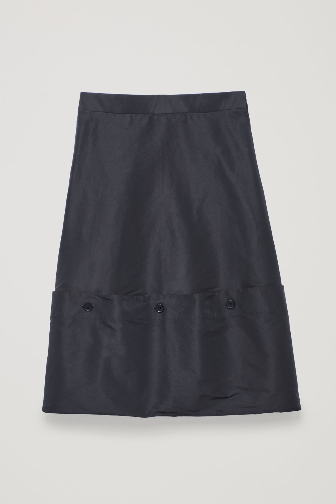 Front image of Cos draped skirt with buttons in blue