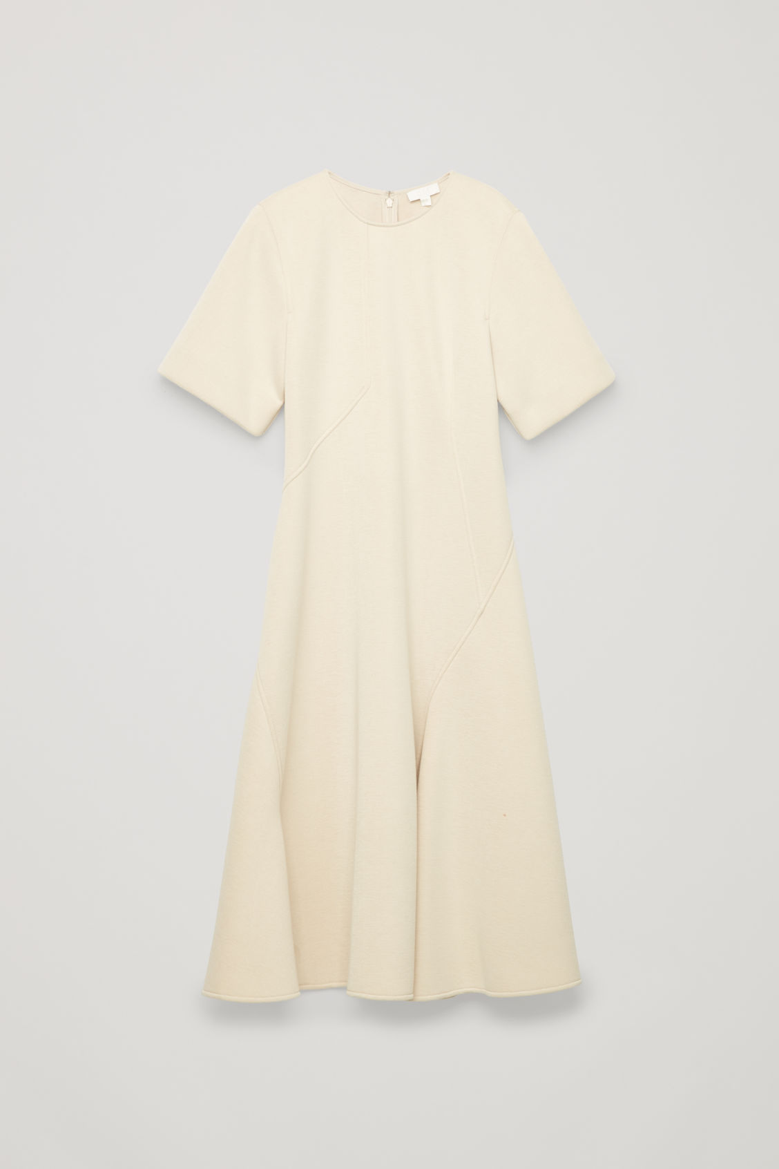 Front image of Cos padded a-line dress with seams in beige