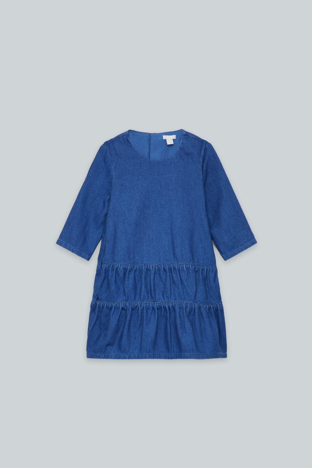 GATHERED-PANEL DENIM DRESS