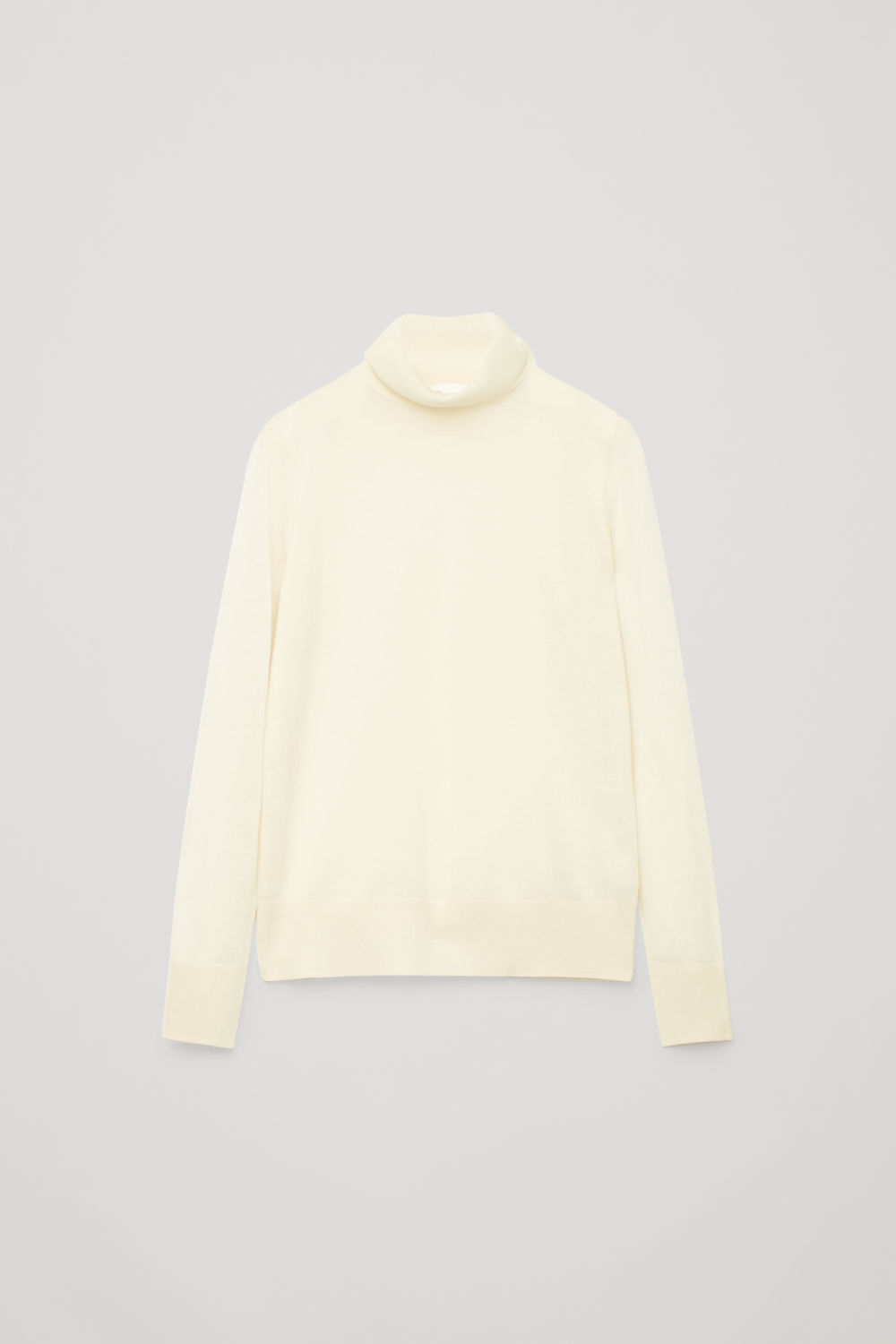 Front image of Cos merino wool roll-neck top in beige