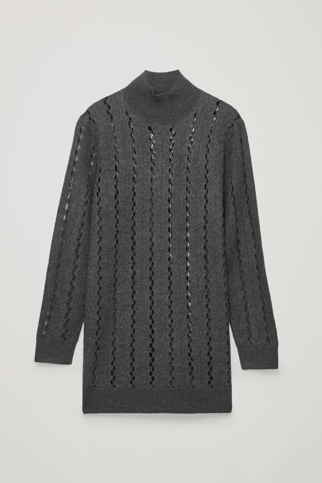 Front image of Cos cut-out boiled wool tunic in grey