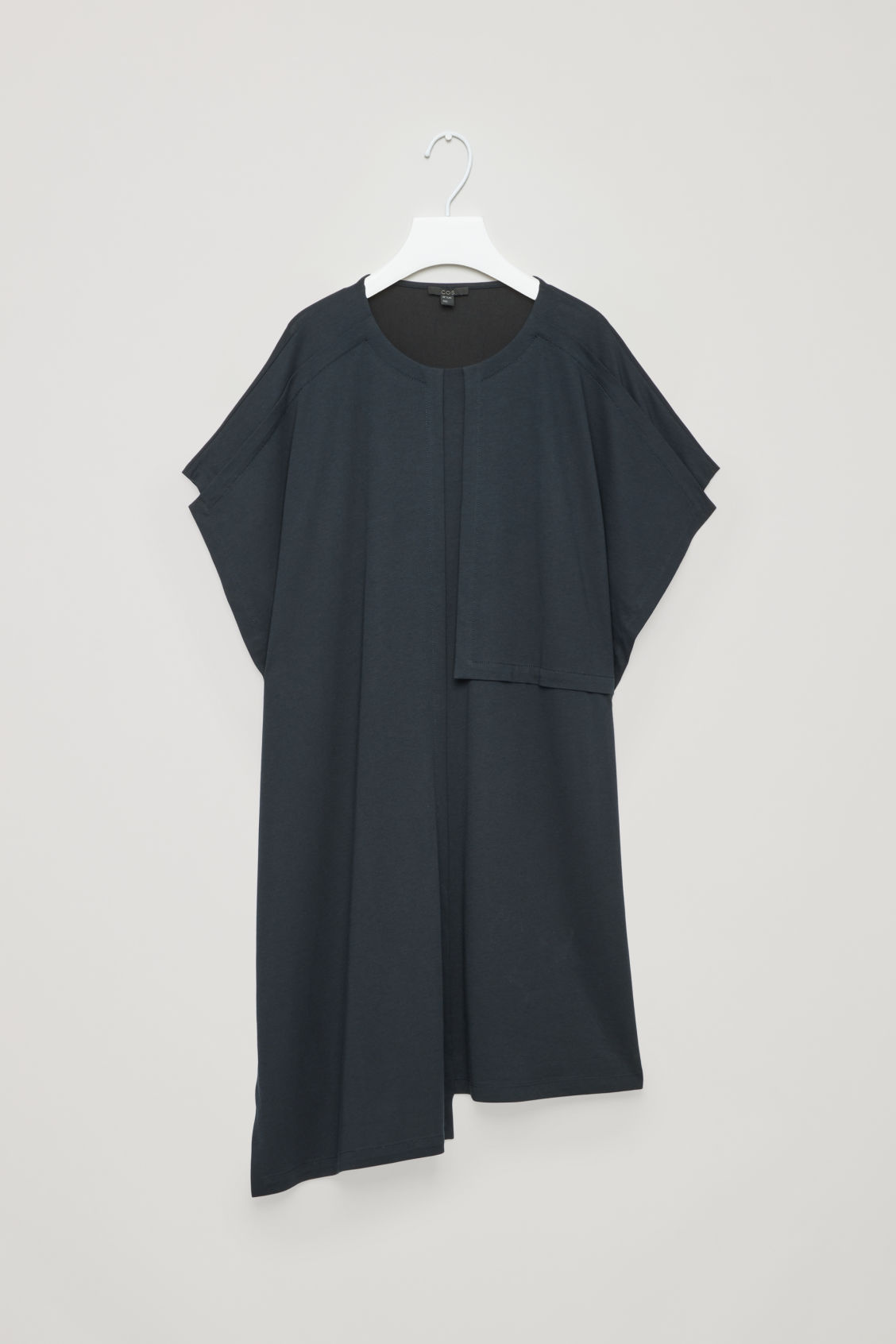 Front image of Cos dress with topstitches in blue