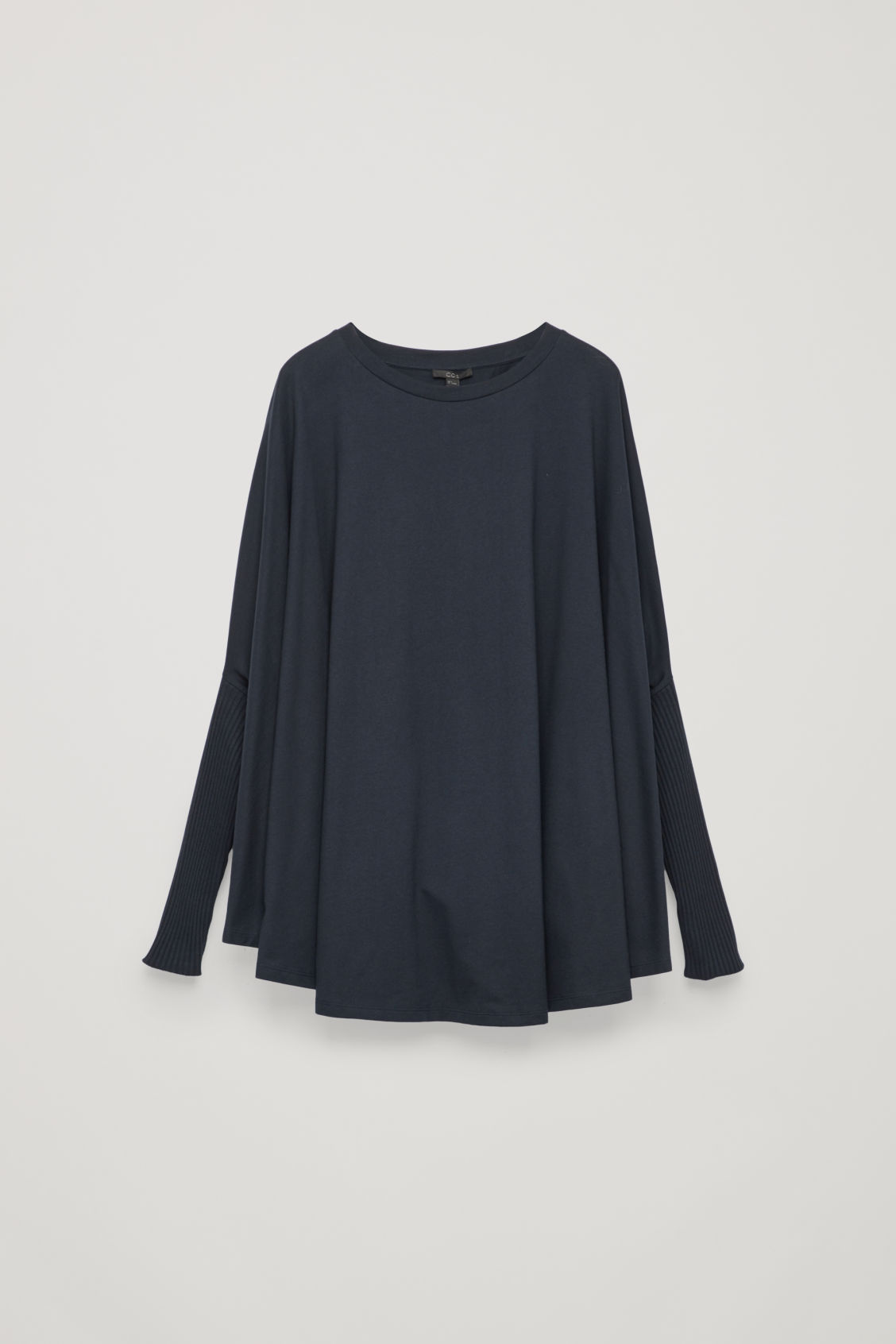 Front image of Cos circle-cut top with rib sleeves in blue