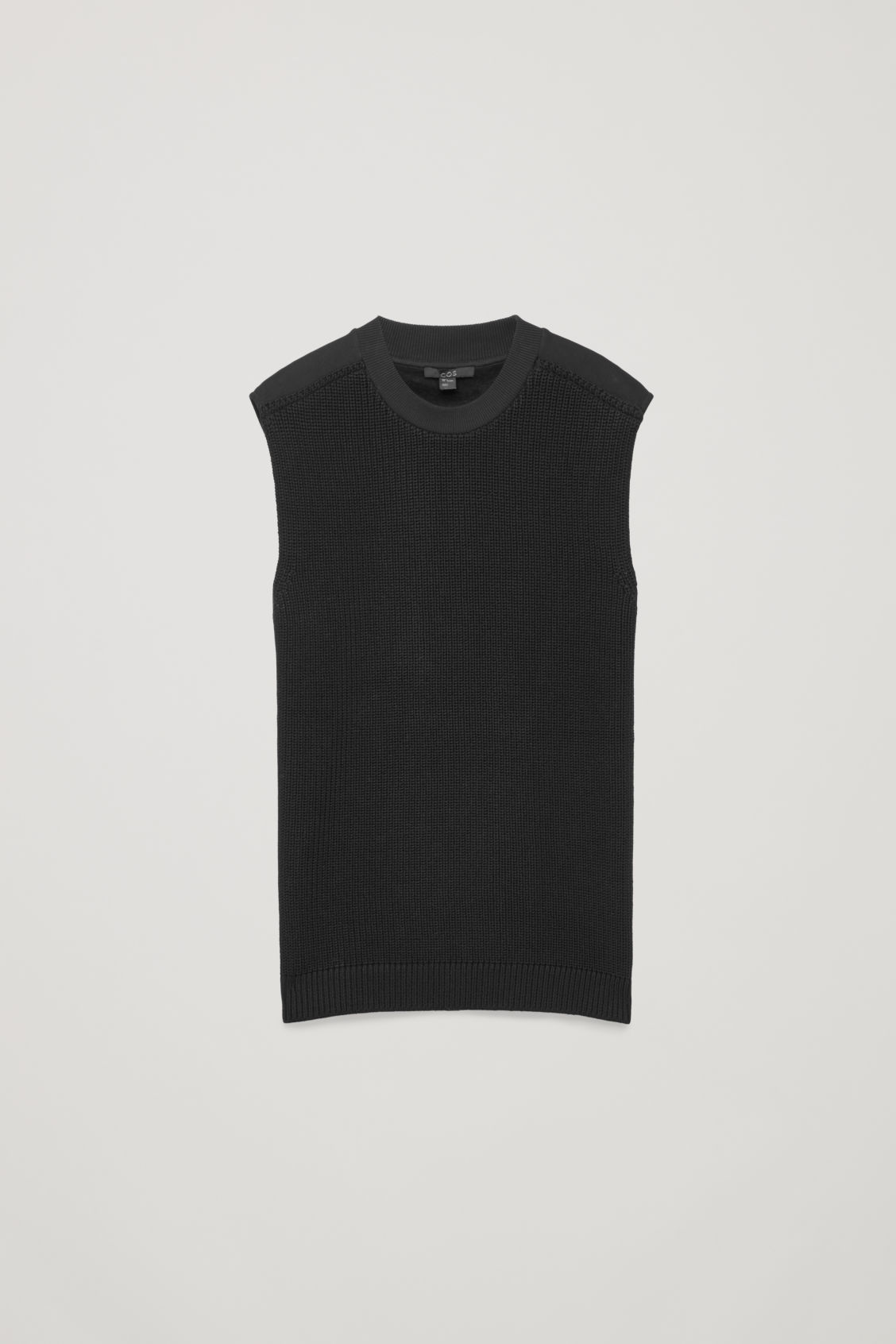 Front image of Cos knit-jersey sleeveless top in black