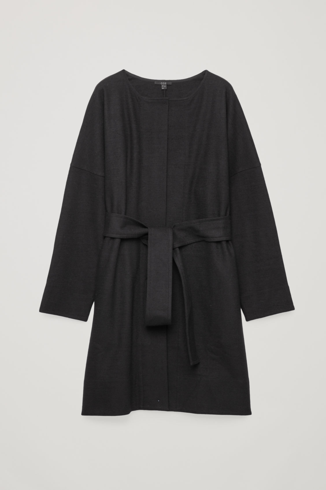 Front image of Cos belted wool wrap dress in black