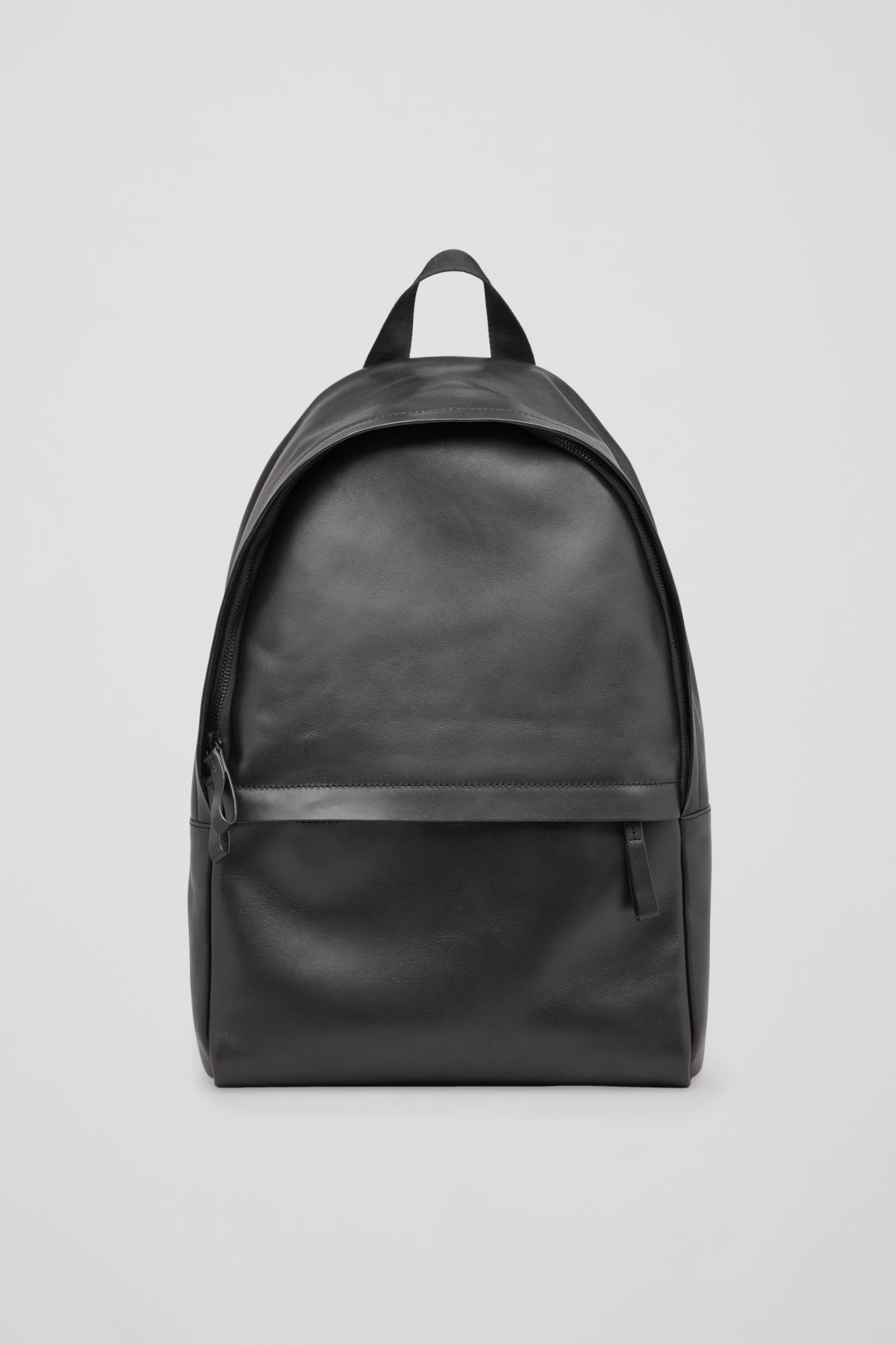 Front image of Cos leather backpack in black