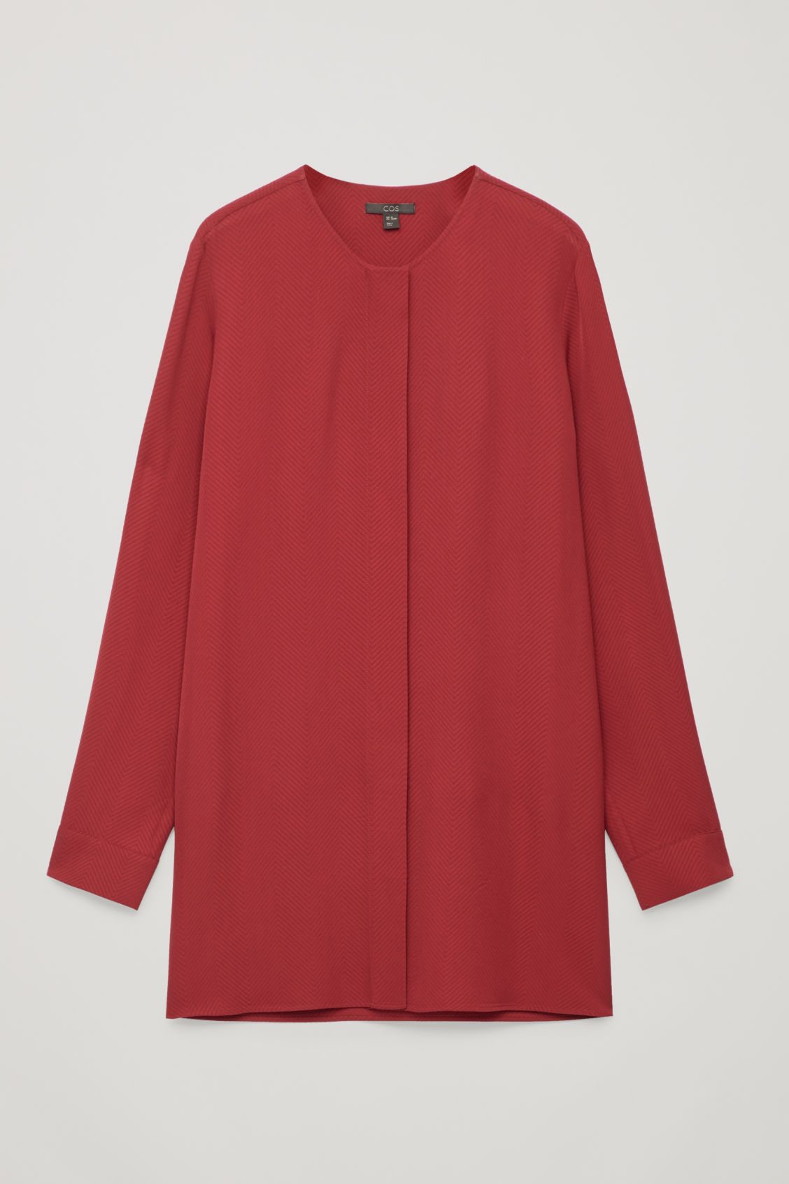 Front image of Cos loose chevron-patterned blouse in red