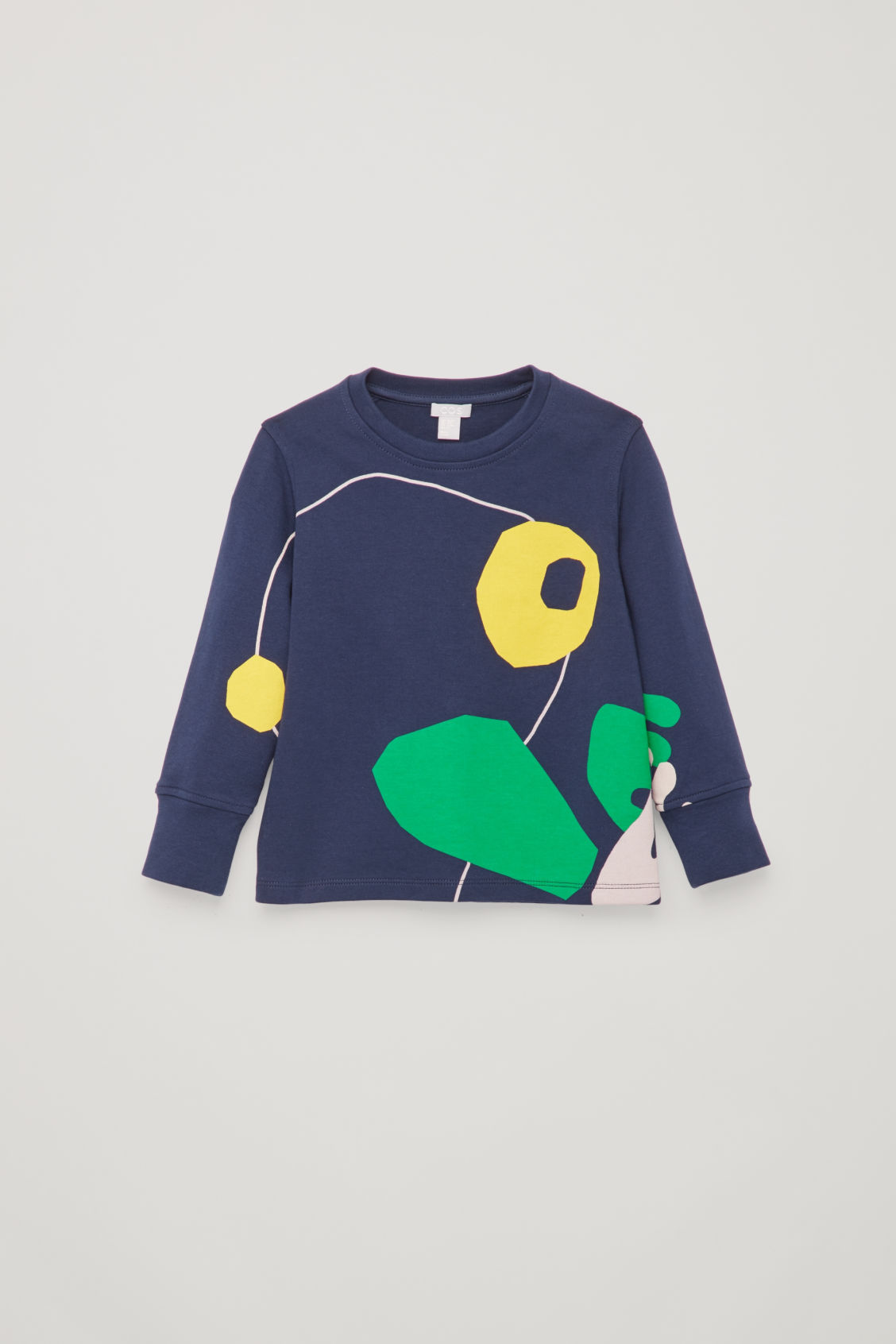 Front image of Cos frog-print jersey top in blue