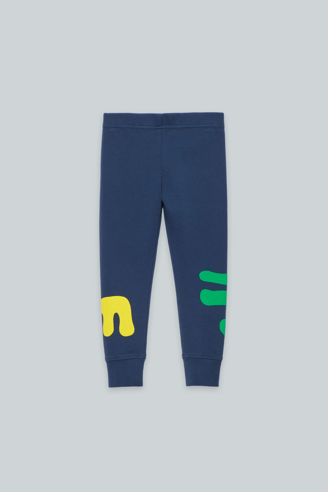 Front image of Cos printed jersey leggings in blue