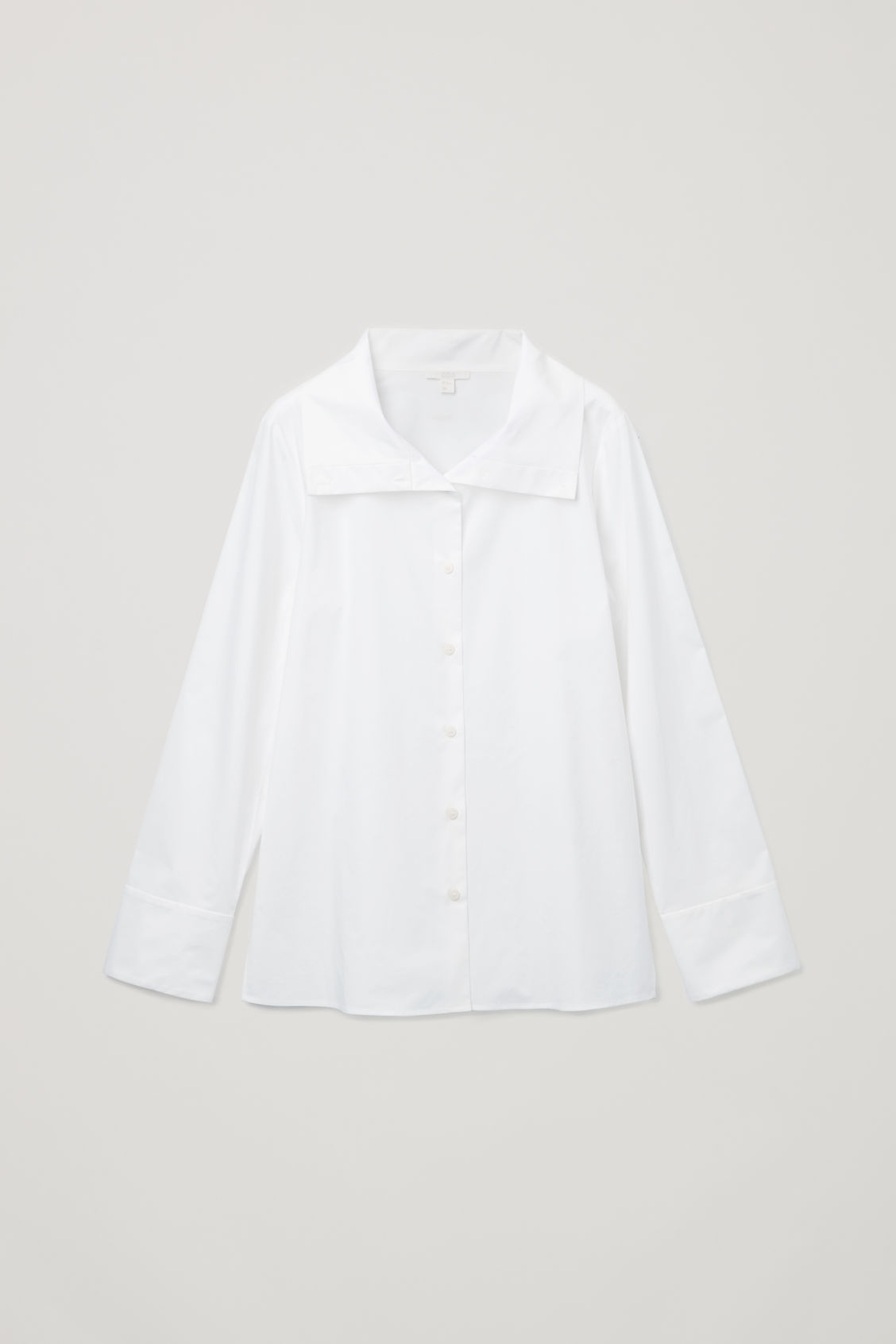Front image of Cos open-collar poplin shirt in white