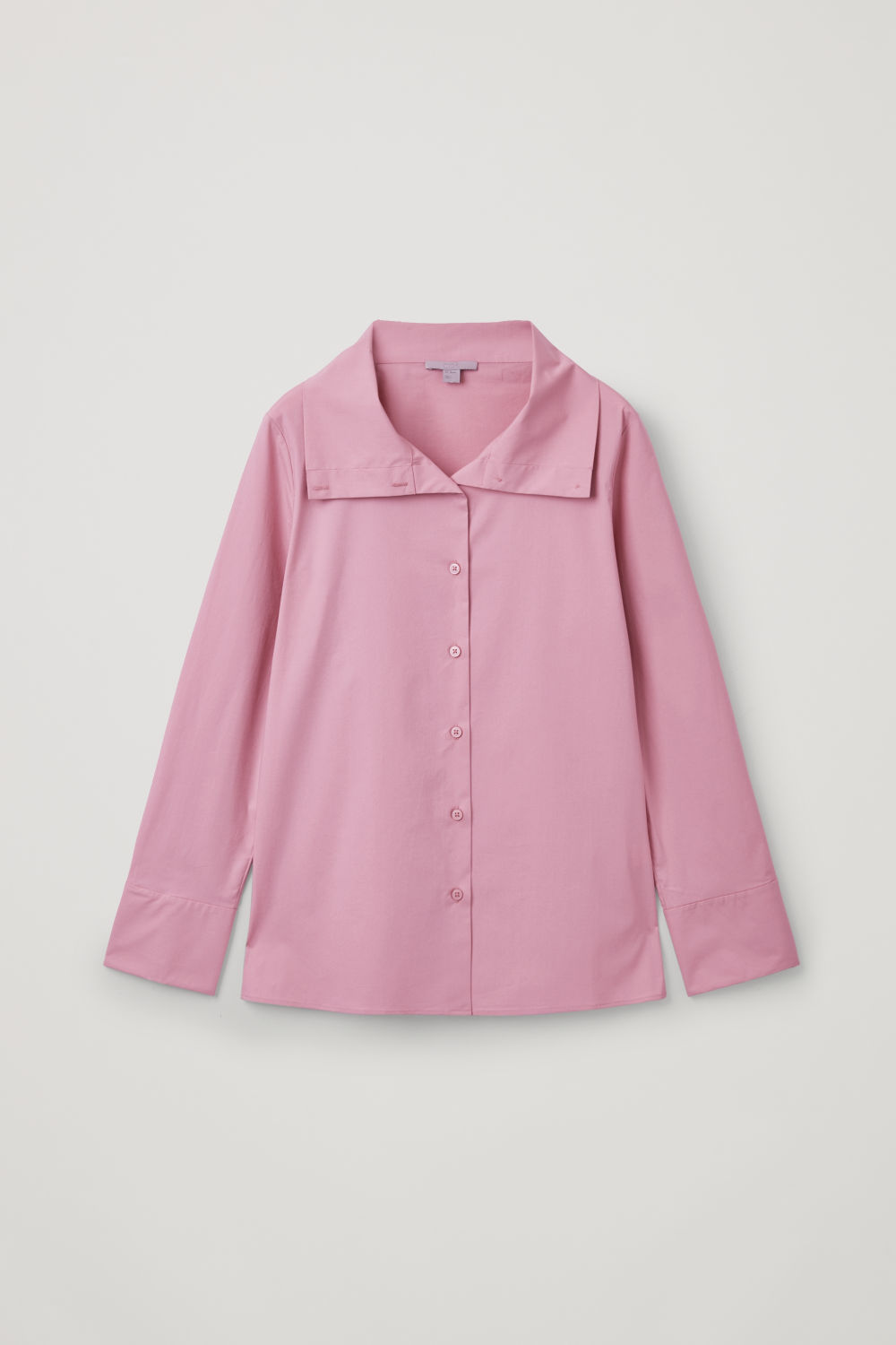 Front image of Cos open-collar poplin shirt in pink