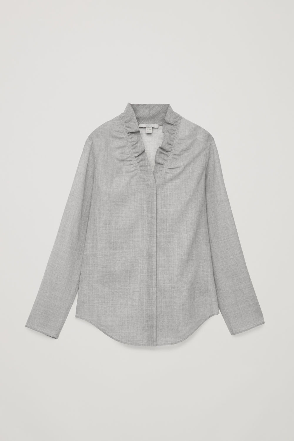 FRILL-NECK WOOL BLOUSE