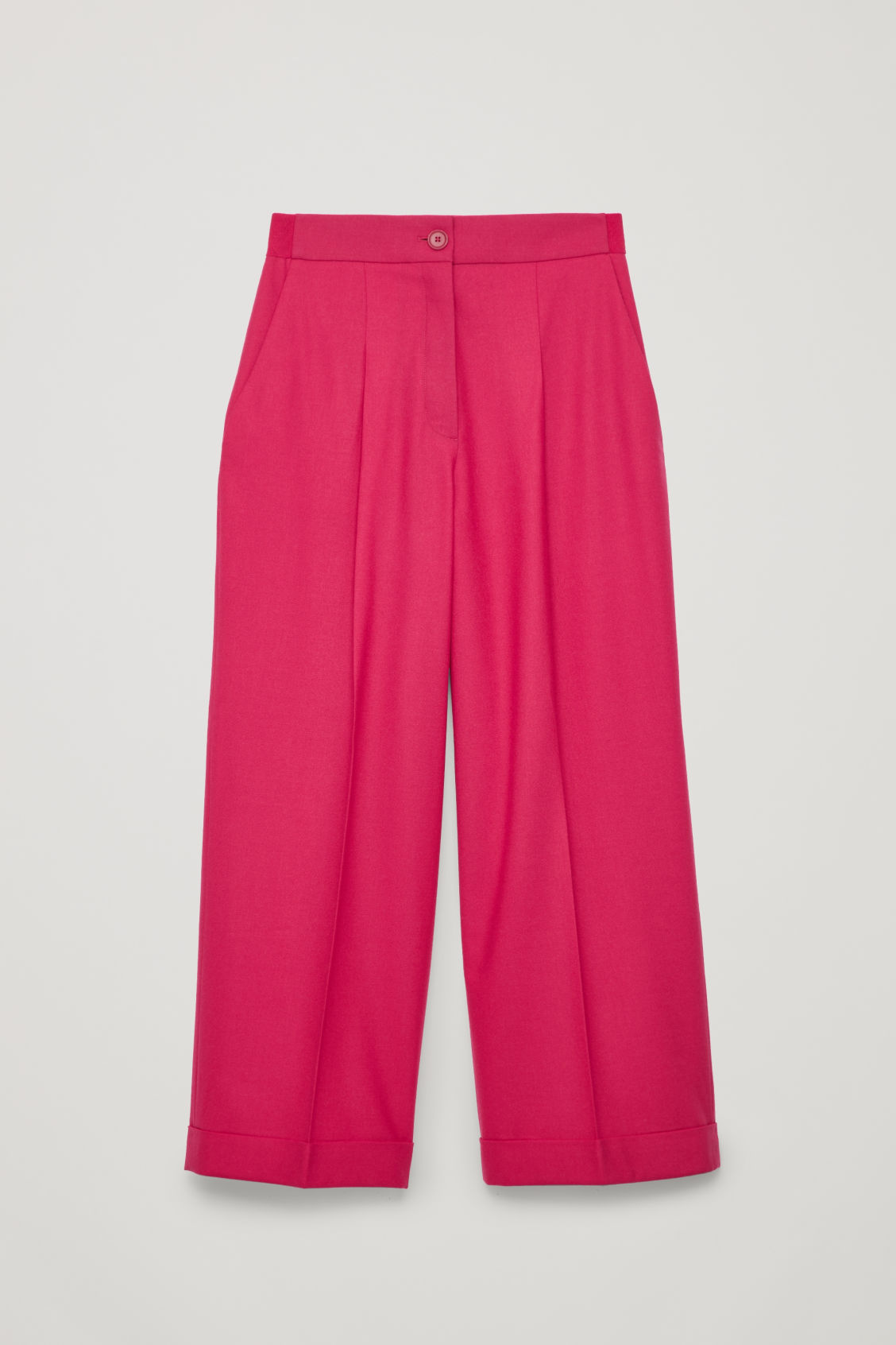 Front image of Cos turn-up wool trousers in pink
