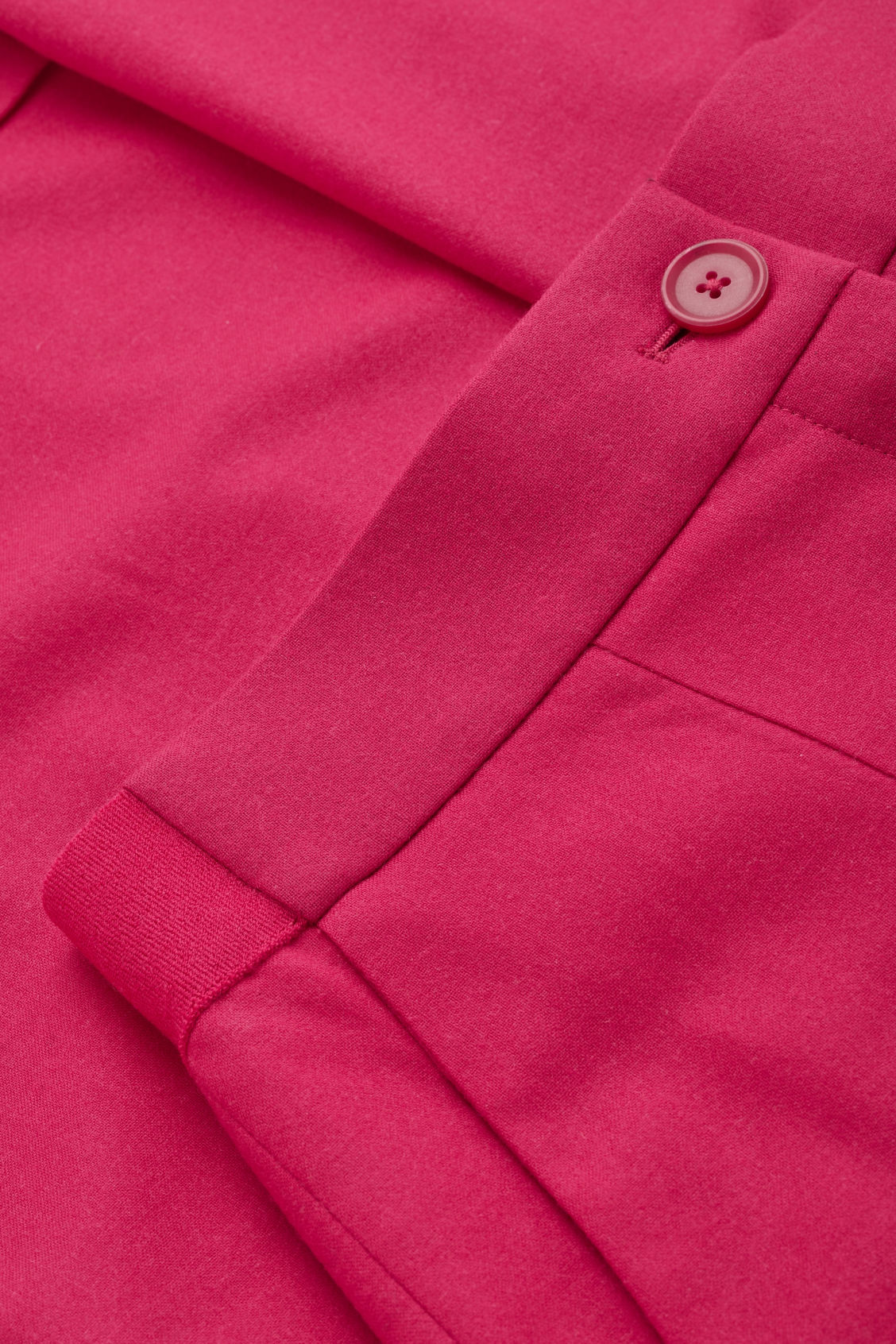Side image of Cos turn-up wool trousers in pink