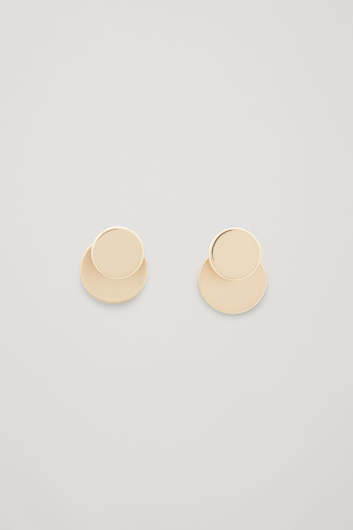 Front Image Of Cos Double Disc Stud Earrings In Gold