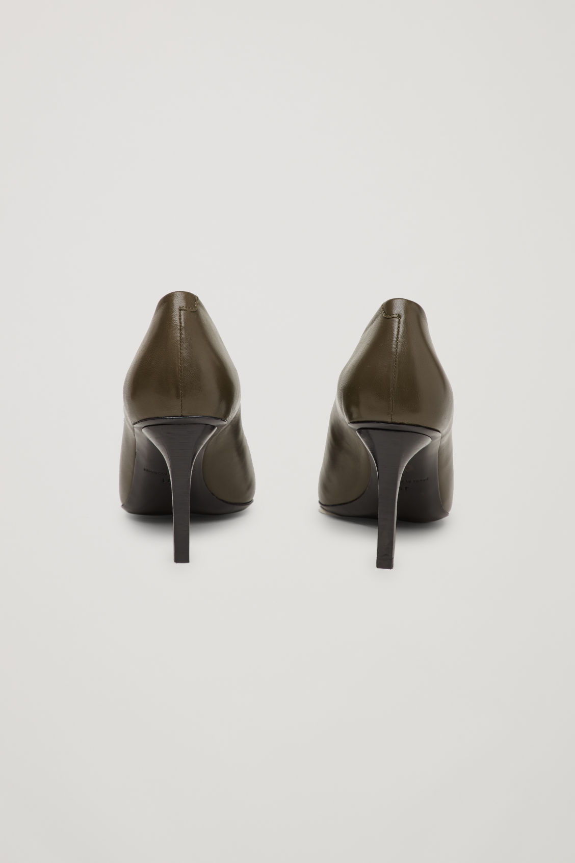 Side image of Cos pointed leather heels in green