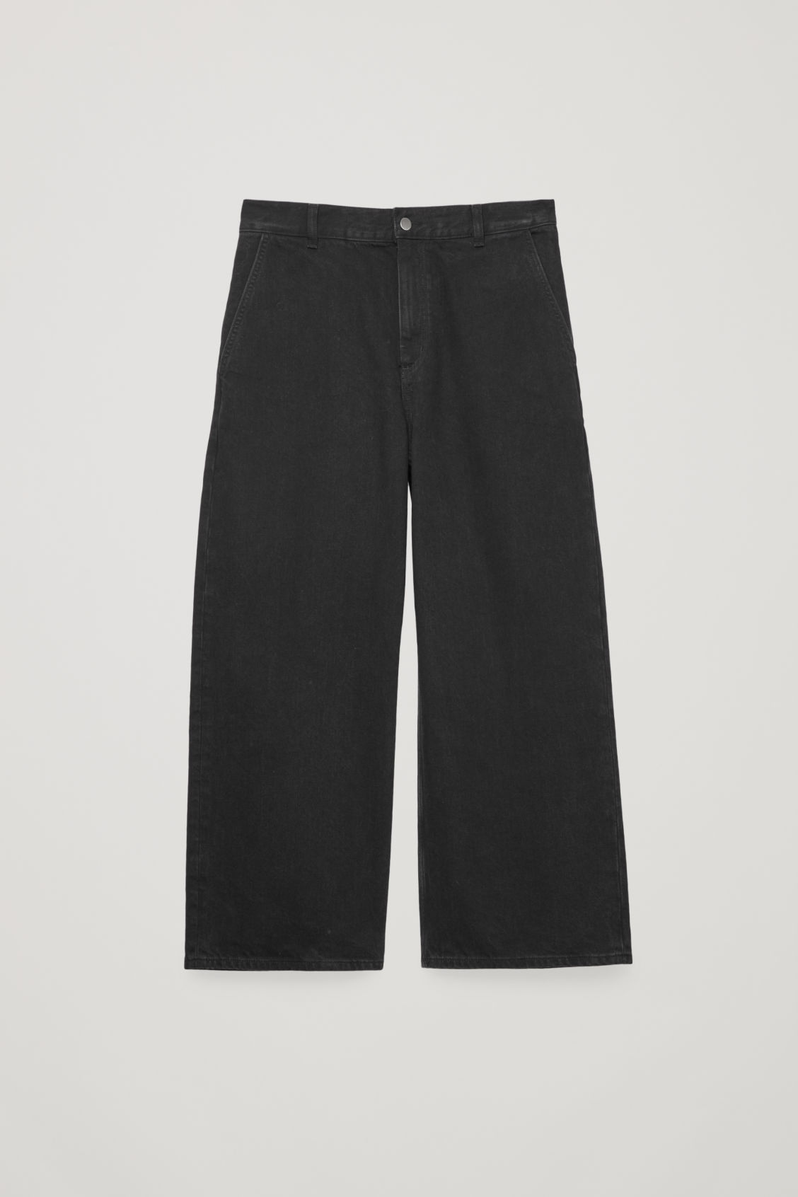 Front image of Cos curved wide-leg jeans in black