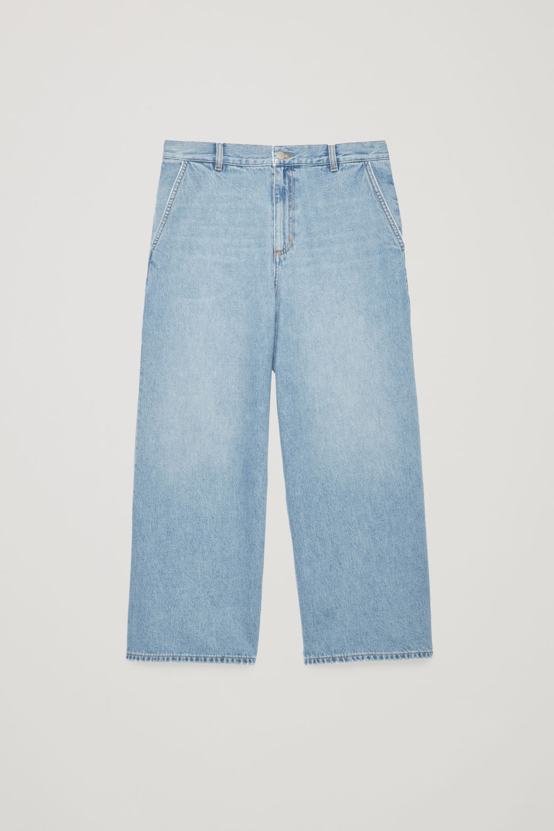 Front image of Cos curved wide-leg jeans in blue