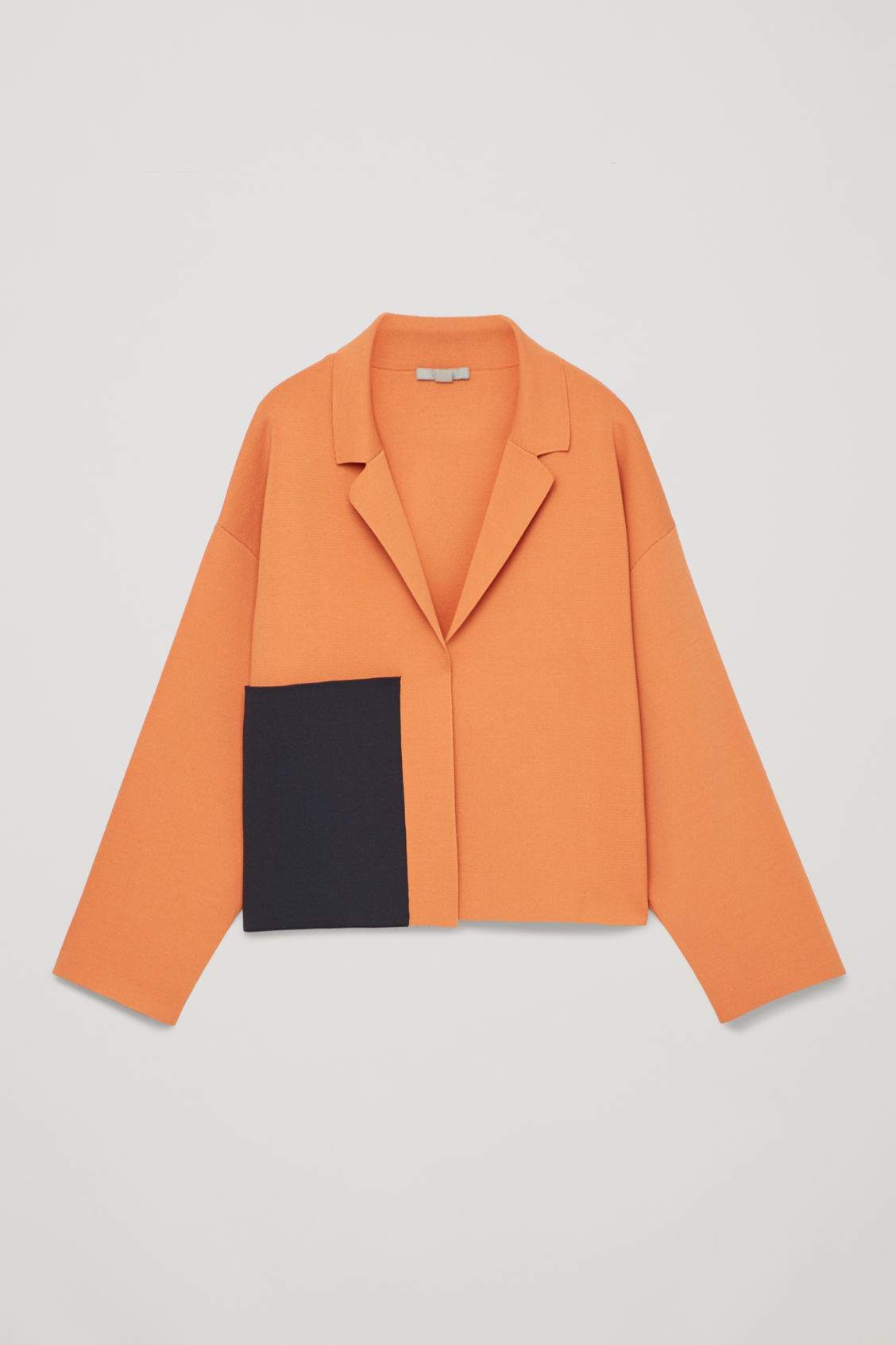 Front image of Cos knitted jacket with pocket in orange