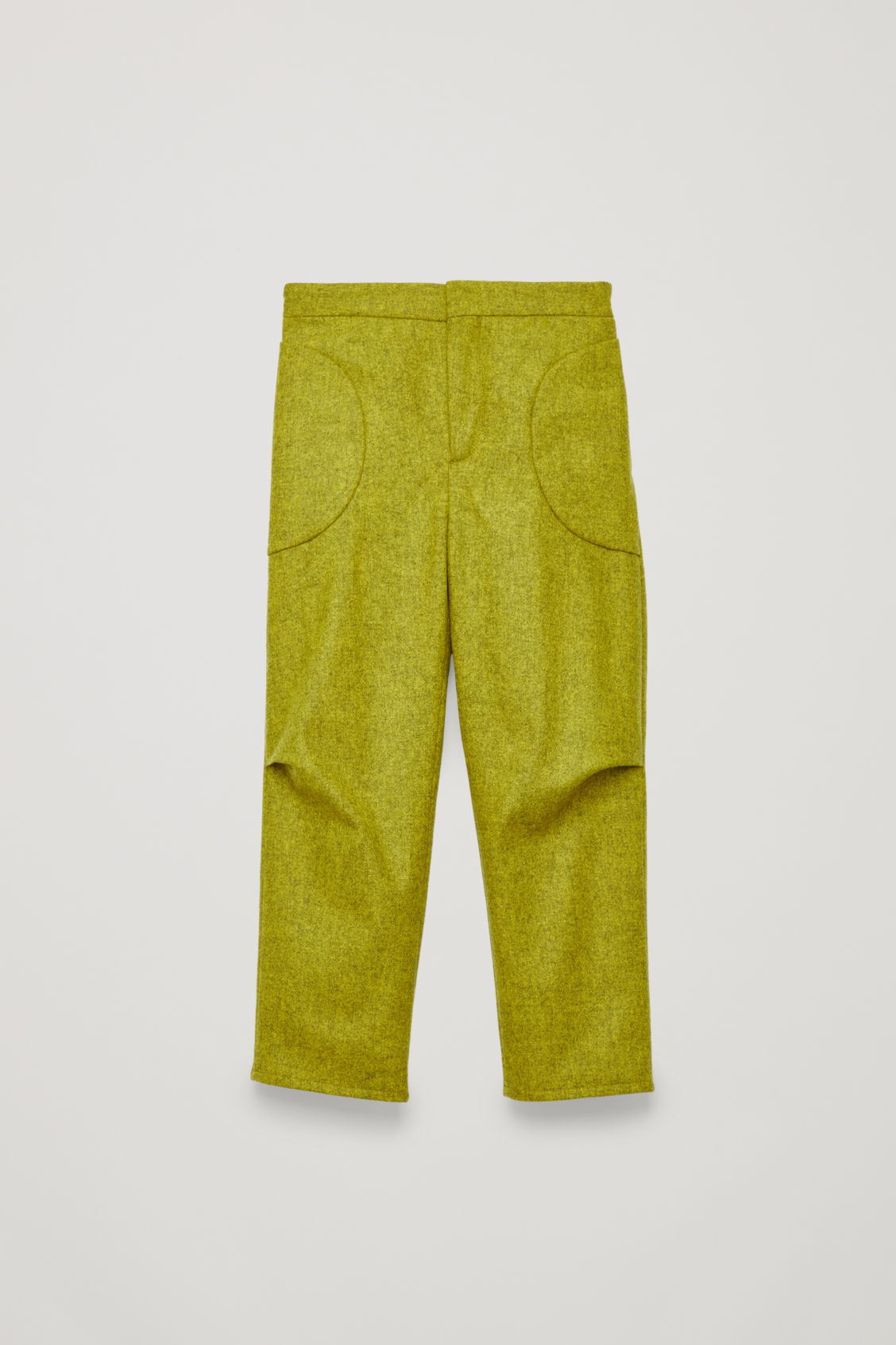 Front image of Cos trousers with pleated pockets in yellow
