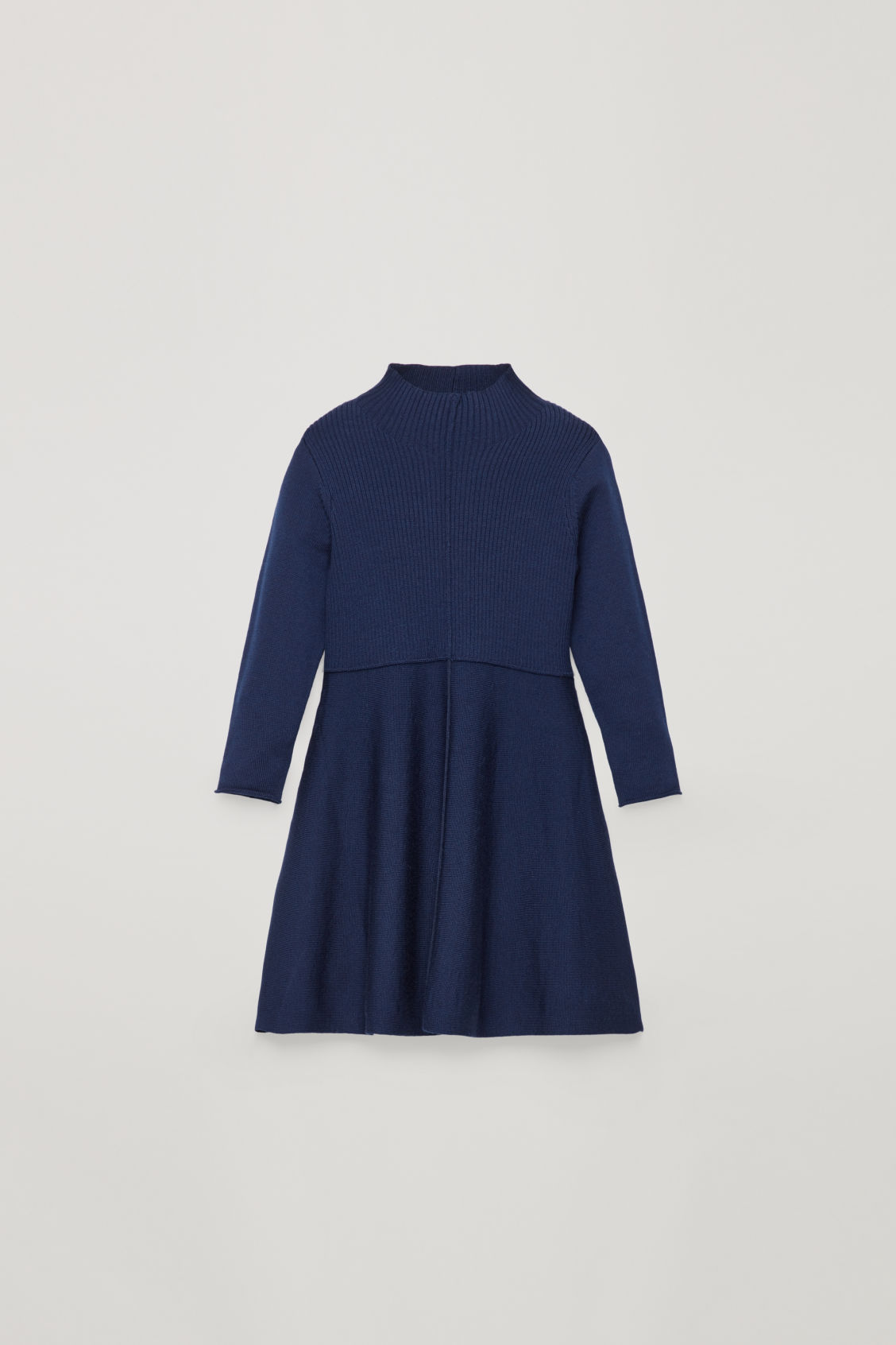 Front image of Cos mix-knit merino dress  in blue