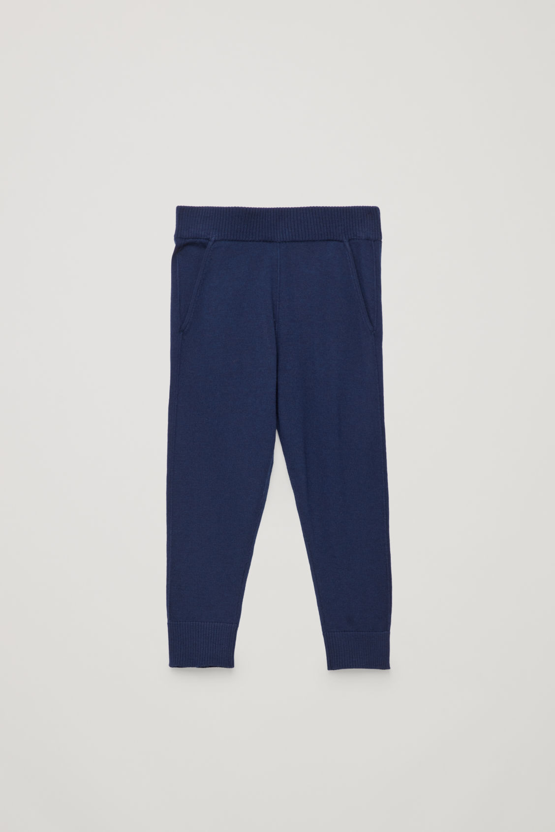 Front image of Cos elastic-waist wool trousers in blue