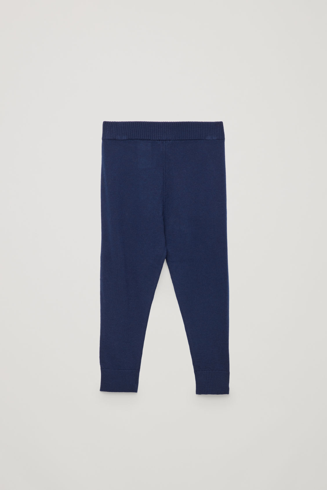 Side image of Cos elastic-waist wool trousers in blue