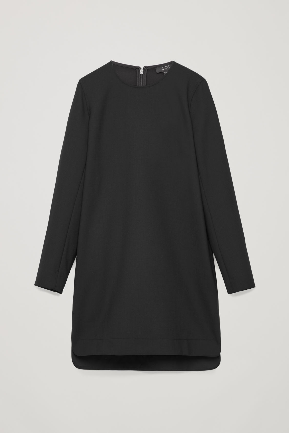 Front image of Cos short dress with buttoned sleeves in black