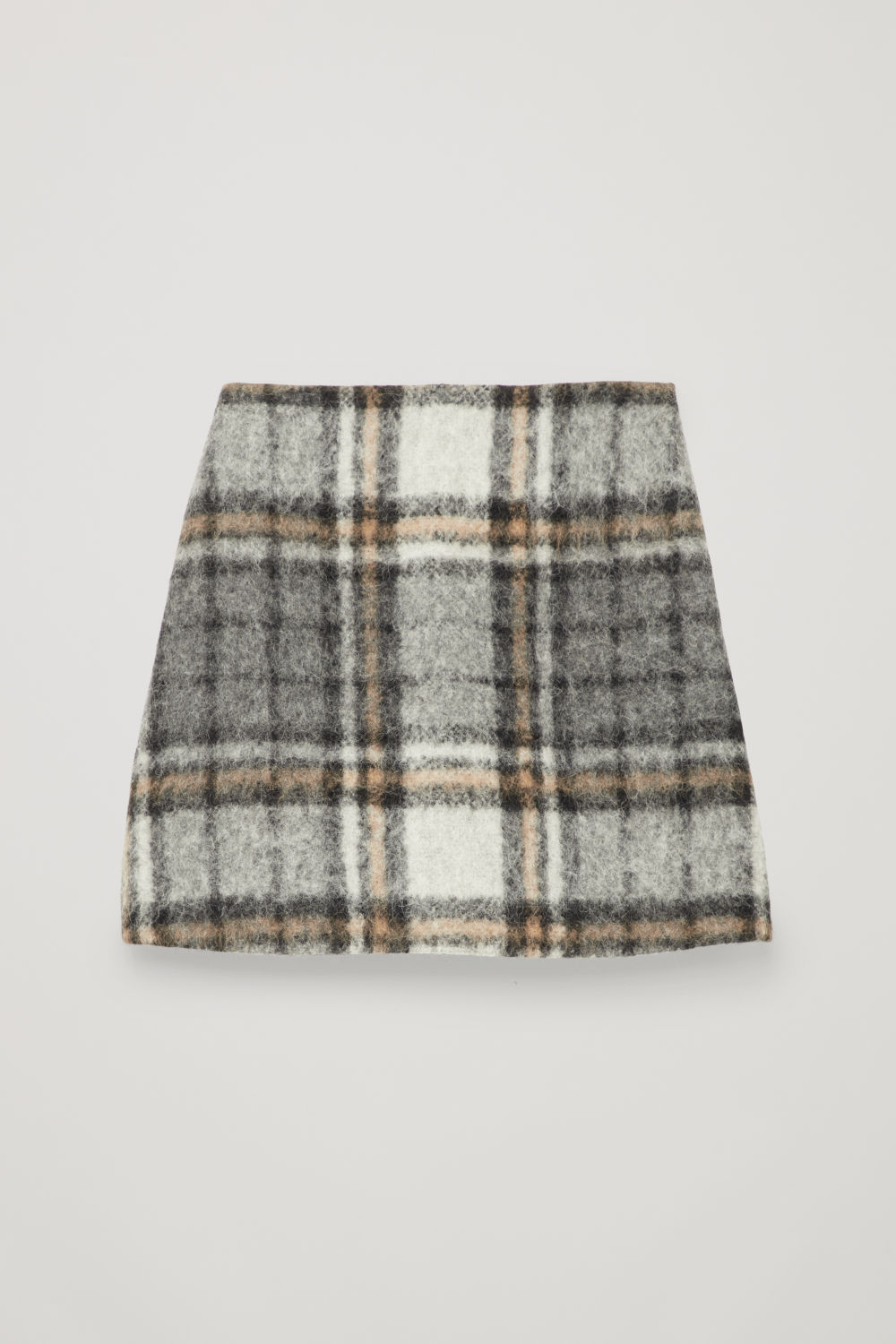 Front image of Cos checked wool a-line skirt in grey