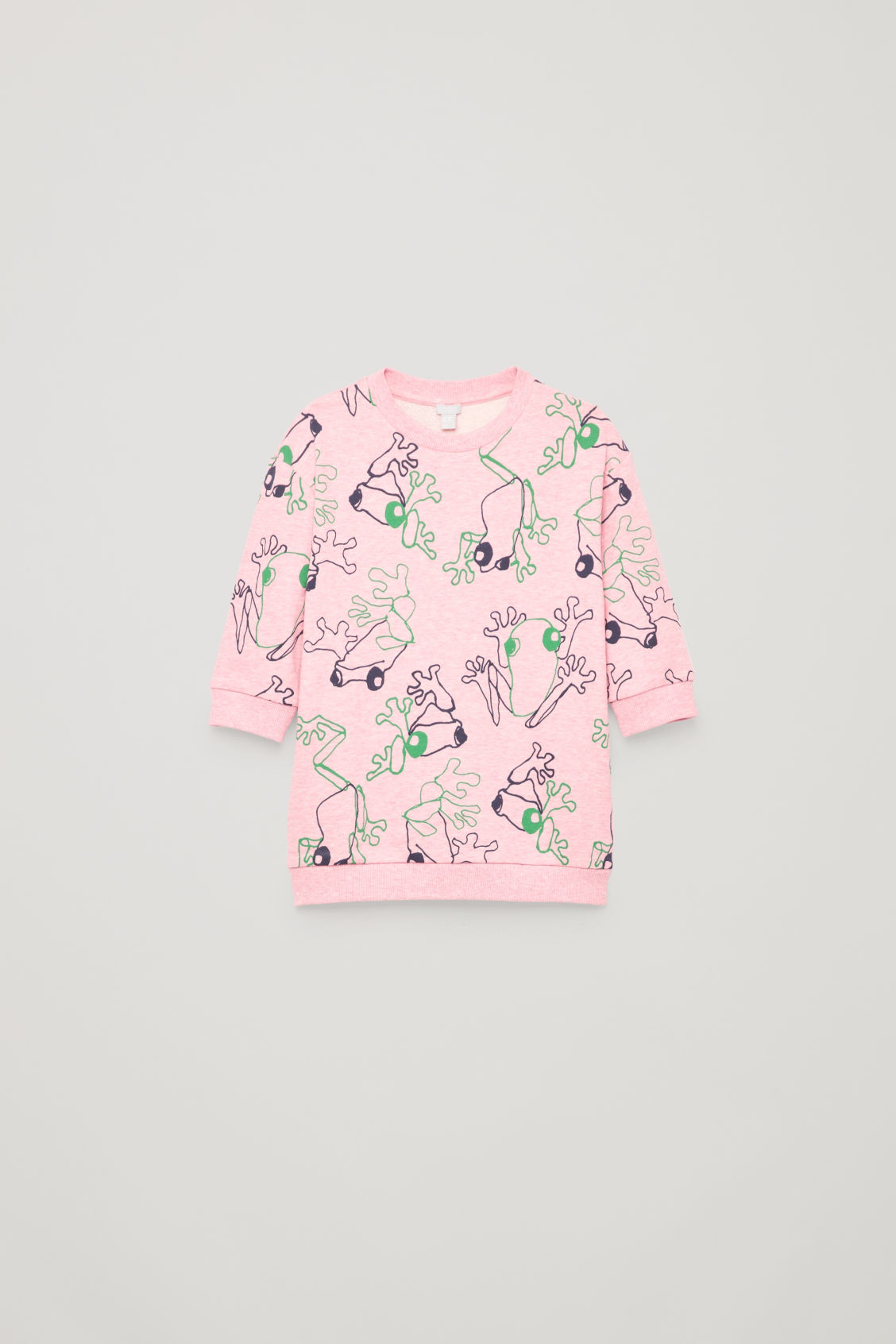 Front image of Cos frog print cotton dress in pink