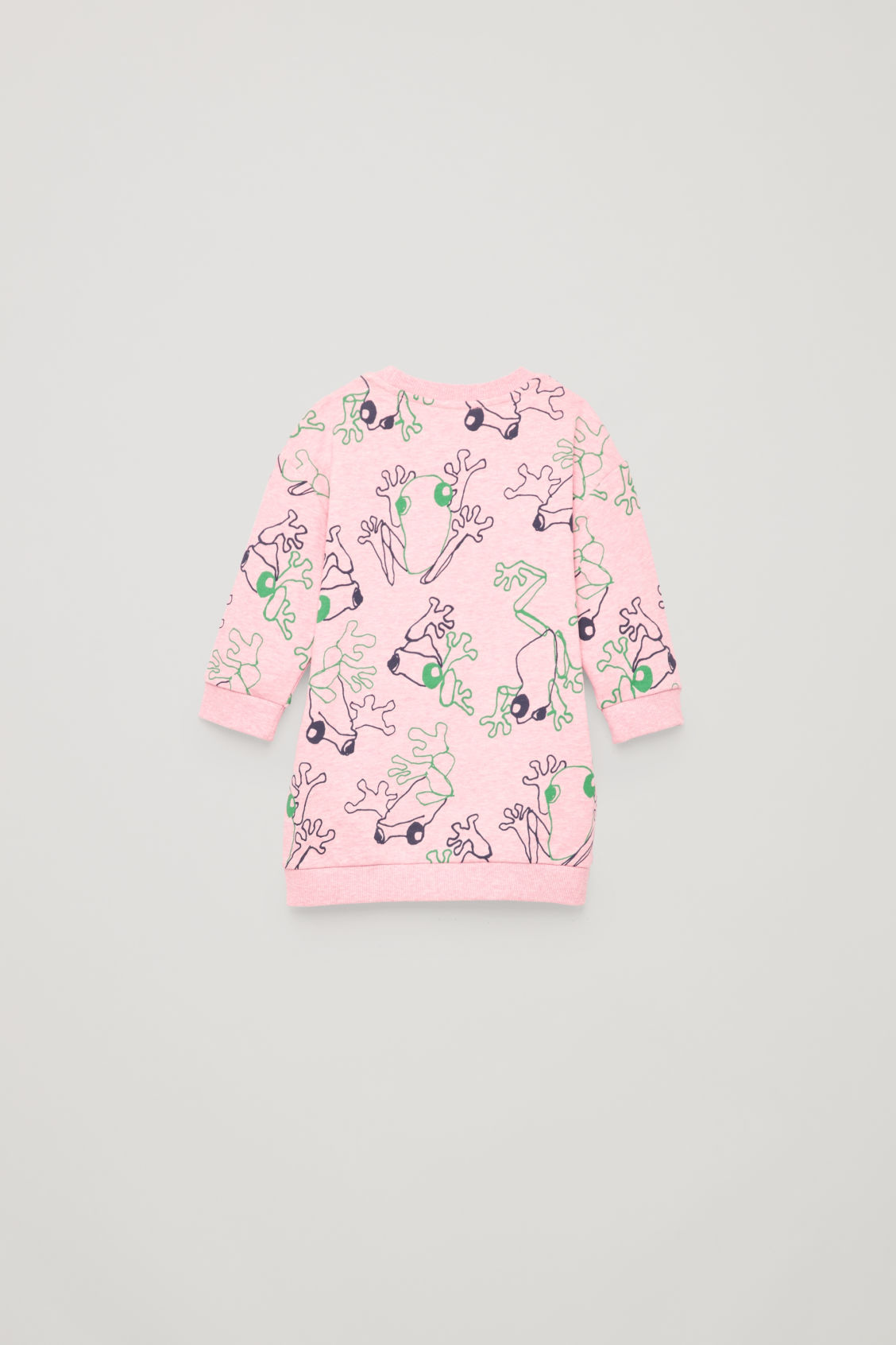 Side image of Cos frog print cotton dress in pink