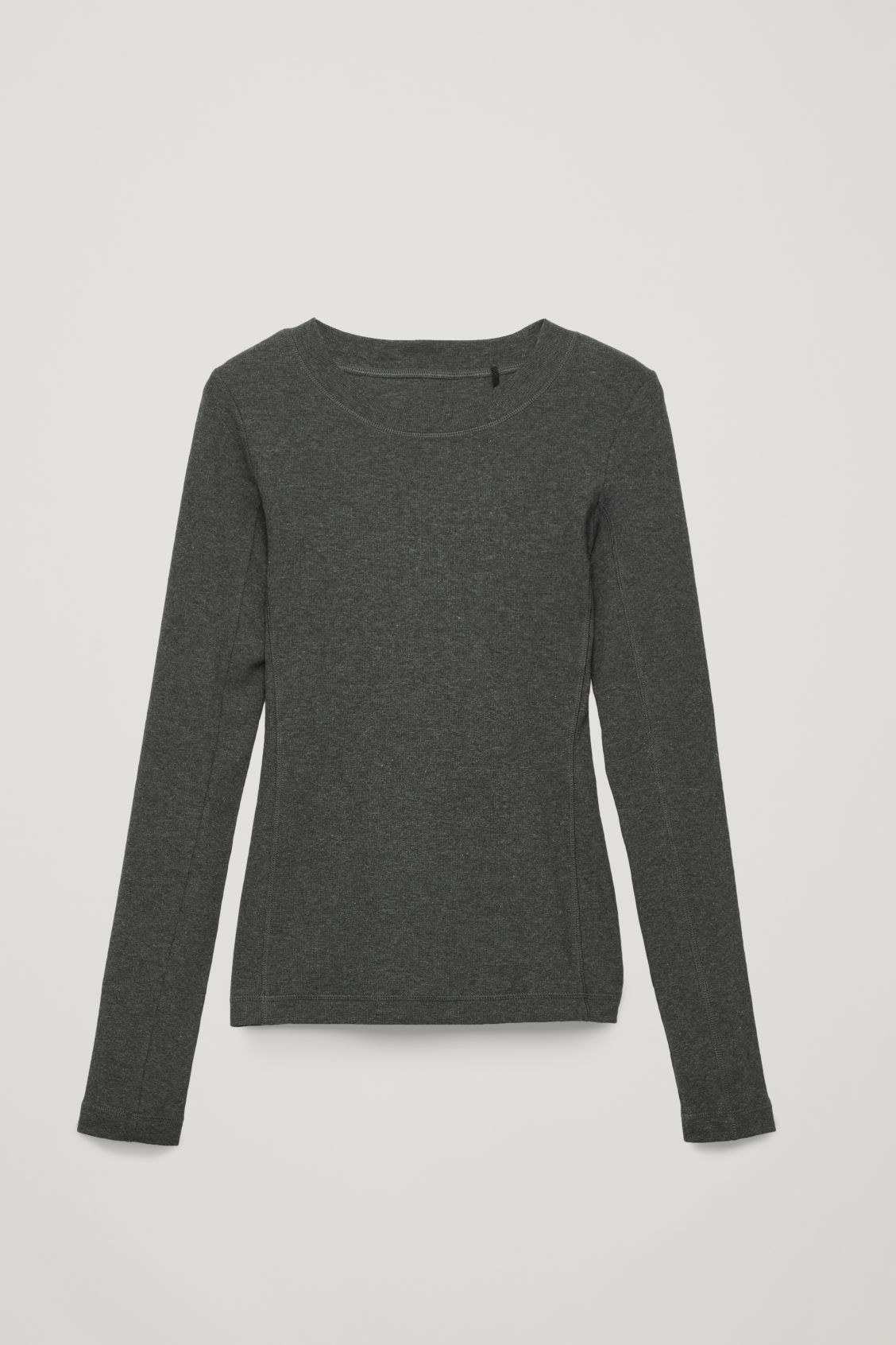 Front image of Cos slim ribbed-jersey top in grey