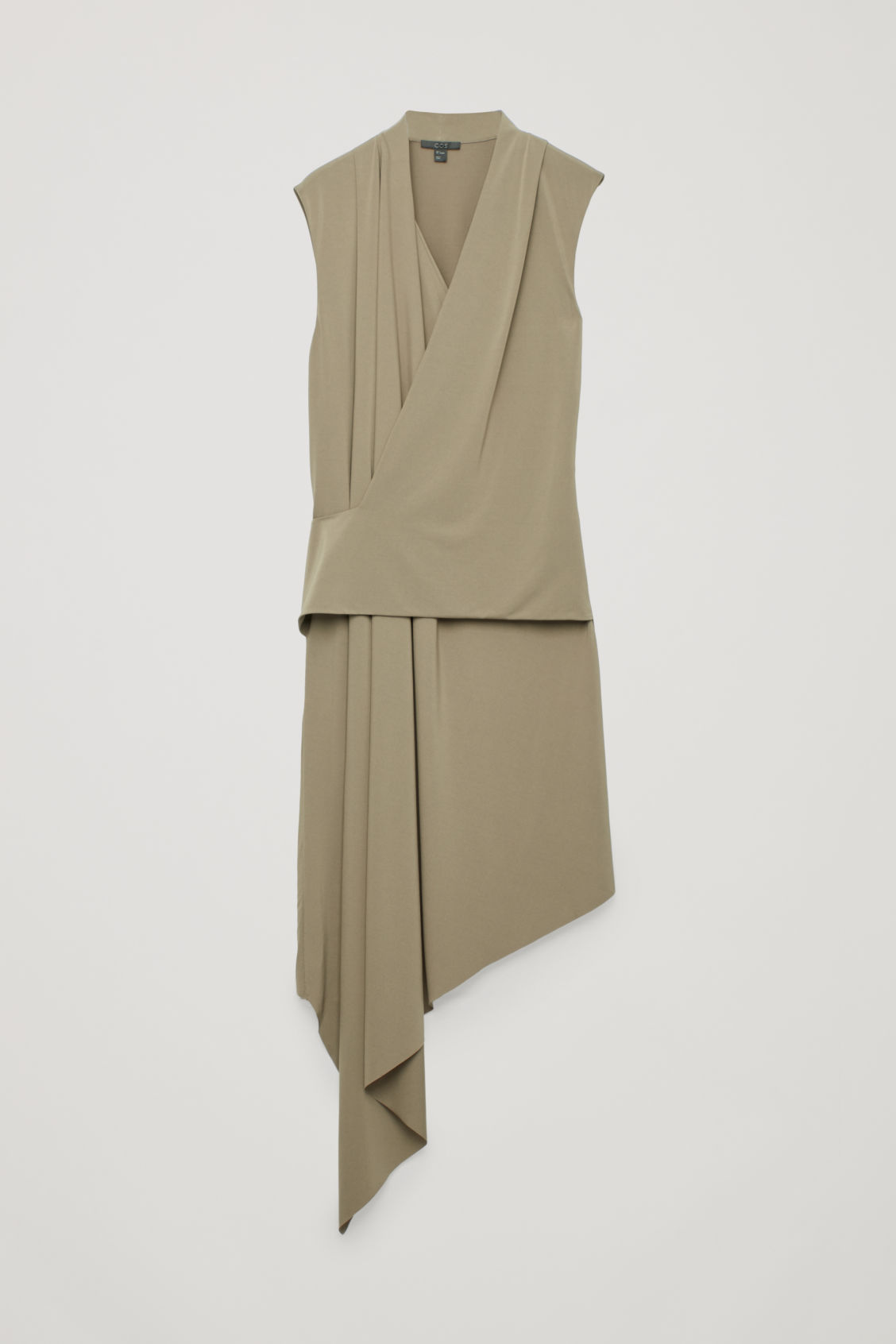 Front image of Cos draped wrap jersey dress in beige