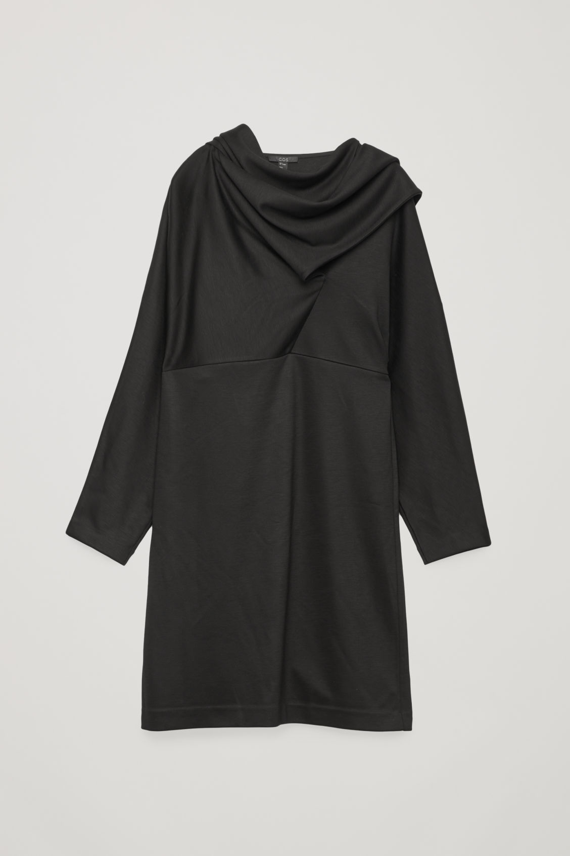 Front image of Cos jersey dress with draped ties in black
