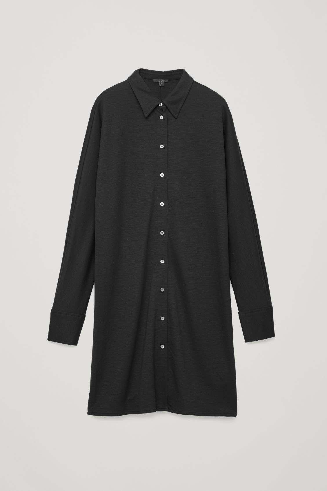 Front image of Cos wide-sleeve jersey shirt dress in black
