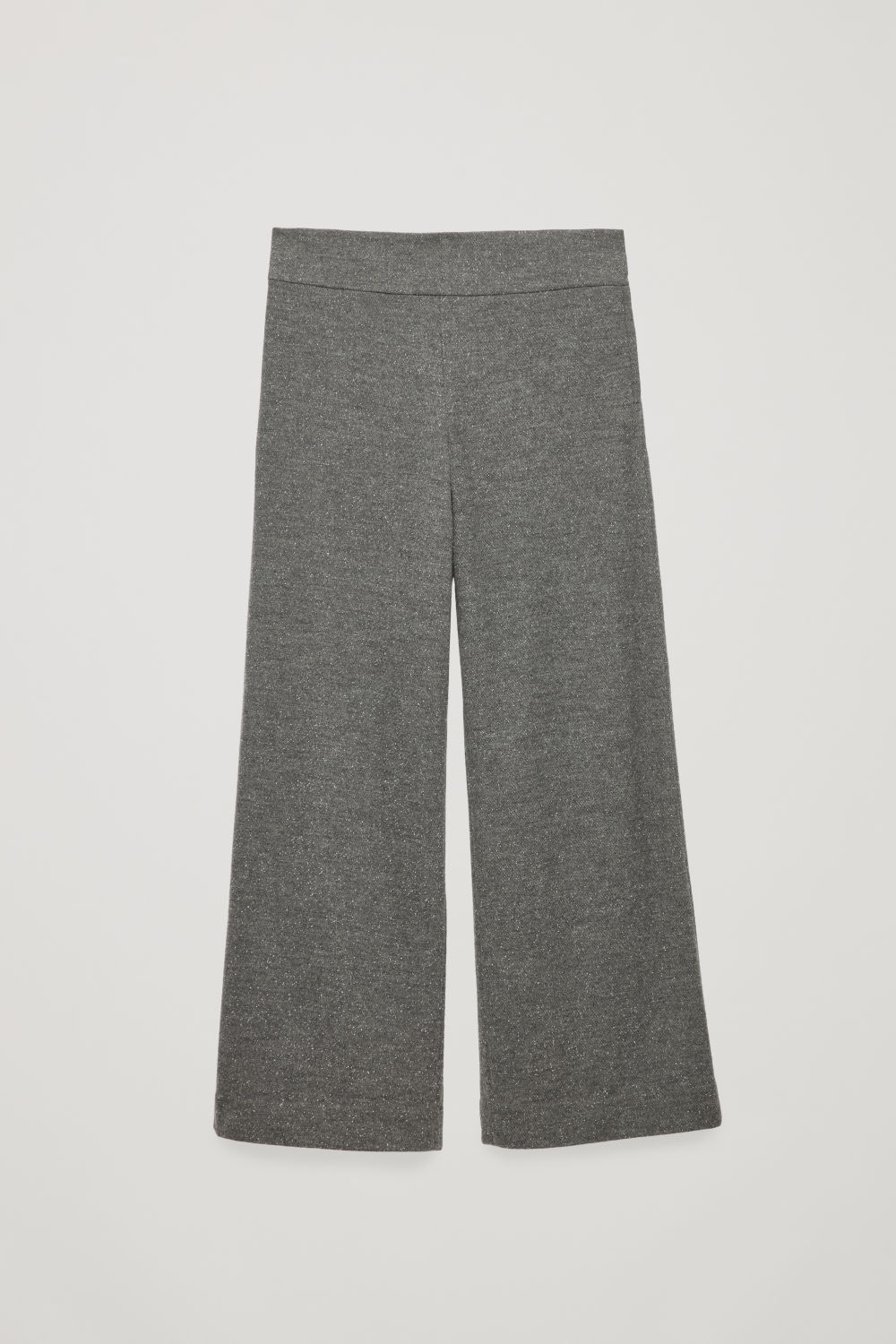 Front image of Cos flecked wool wide-leg trousers in grey