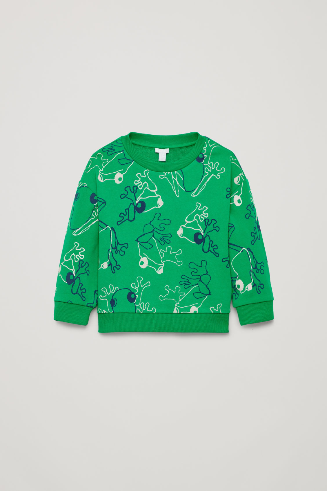Front image of Cos frog print cotton sweatshirt in green