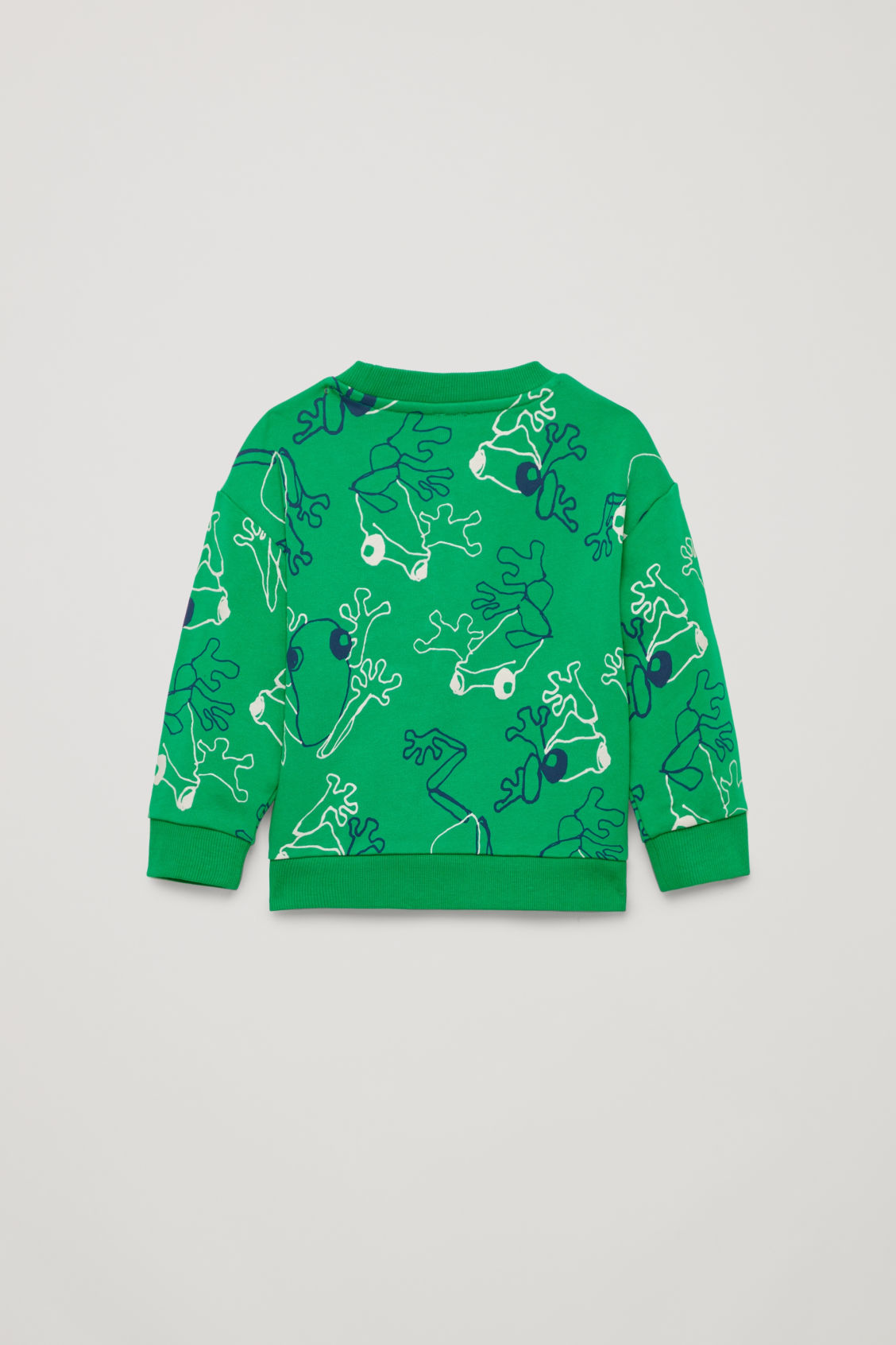 Side image of Cos frog print cotton sweatshirt in green