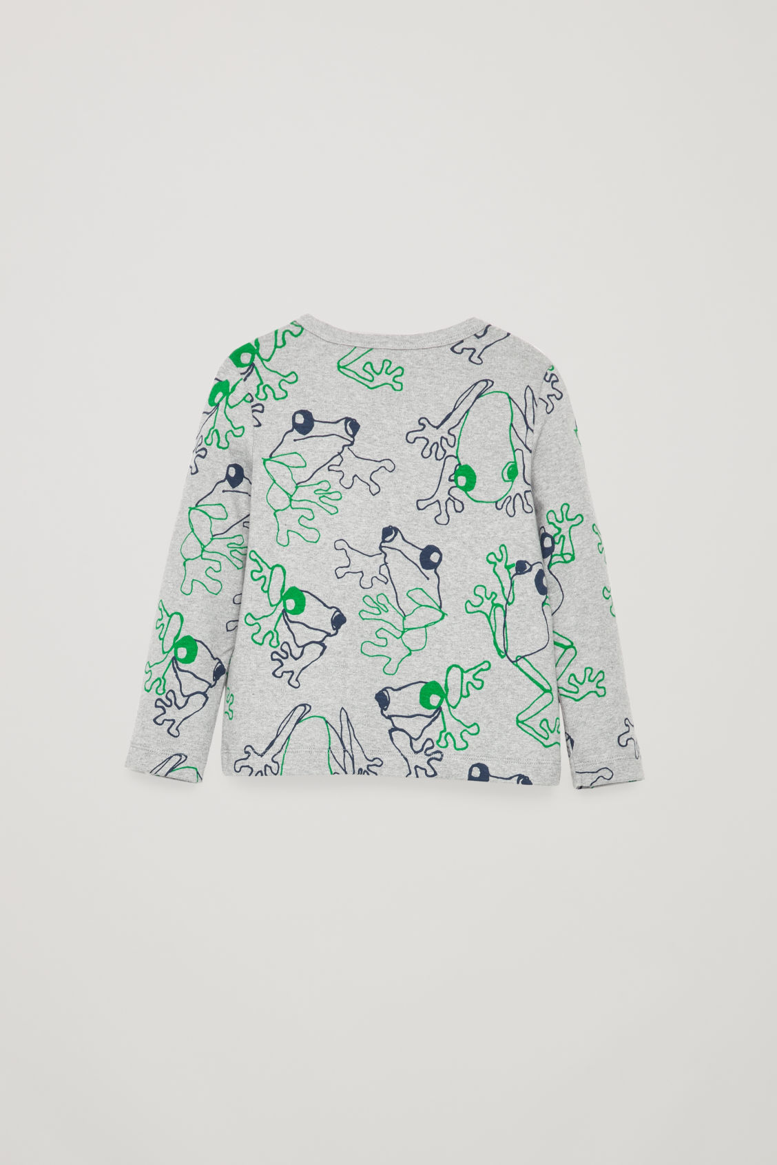 Side image of Cos frog print jersey top in grey
