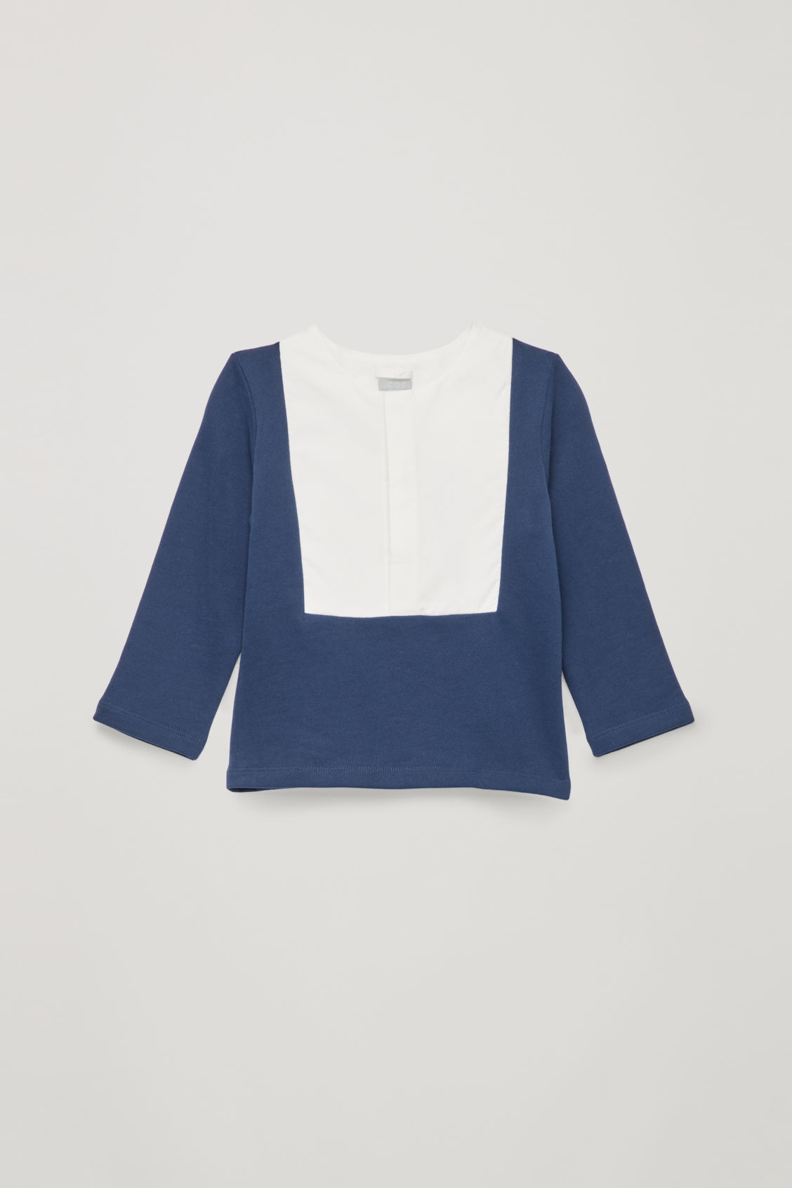 Front image of Cos jersey-woven mix shirt in blue