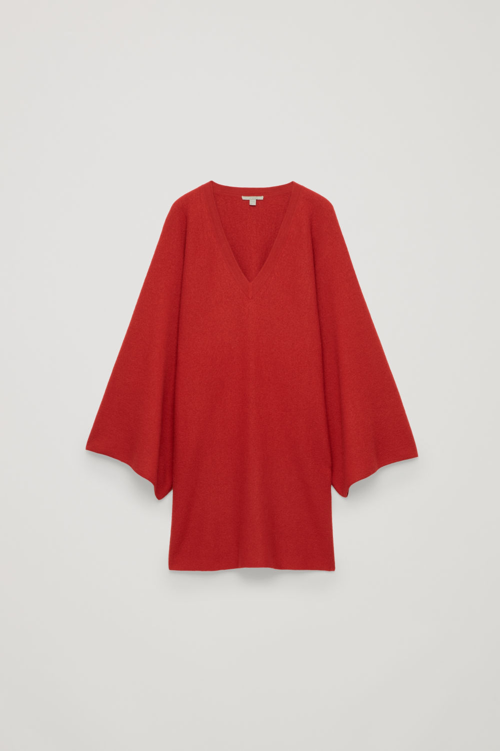 CAPE-SLEEVED WOOL KNIT DRESS