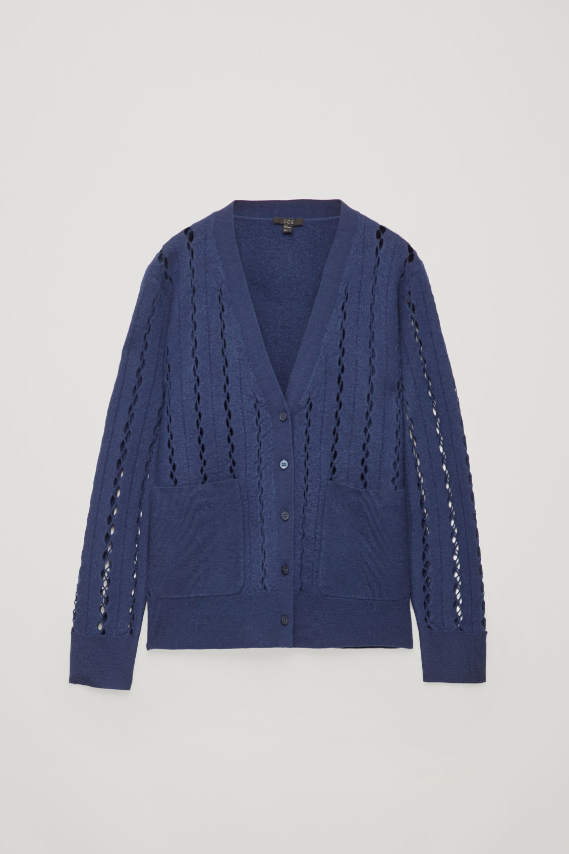 Front image of Cos cut-out boiled wool cardigan in blue