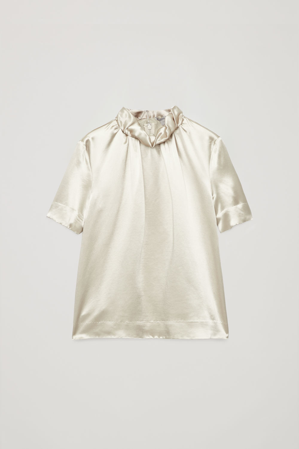 GATHERED-NECK SATIN BLOUSE