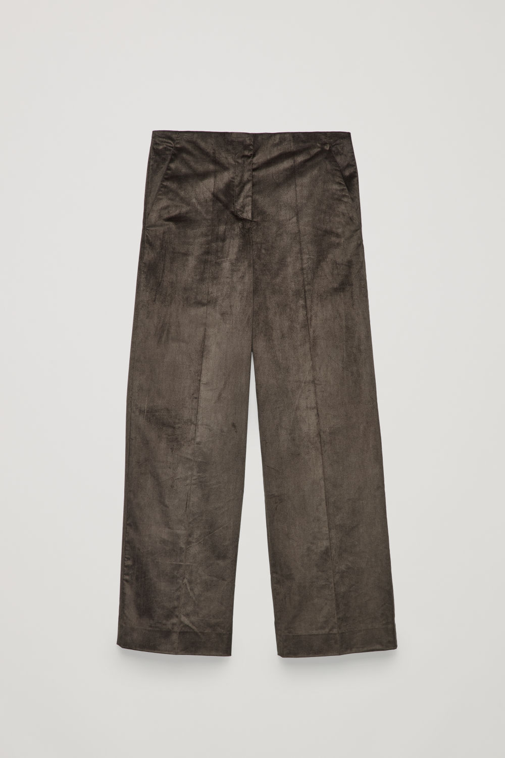 Front image of Cos wide-leg trousers with pleats in brown