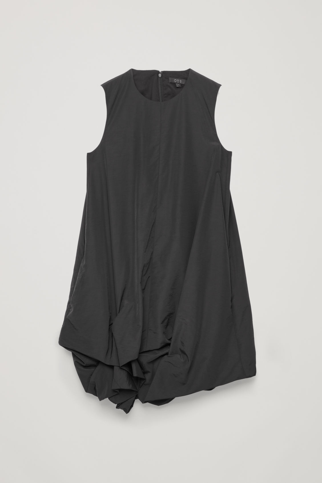 Front image of Cos gathered-hem sleeveless dress in black
