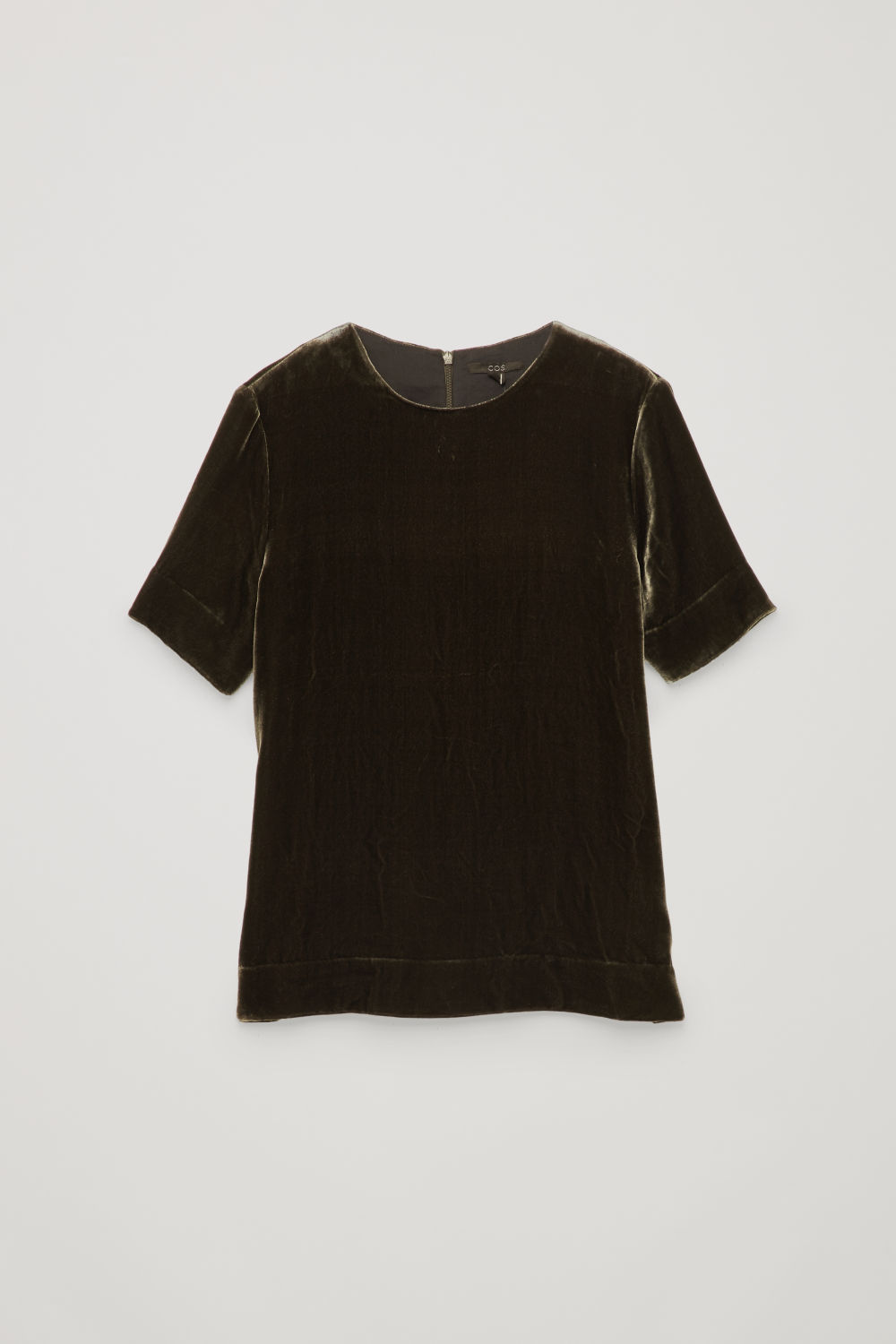 Front image of Cos short-sleeved velvet top in grey