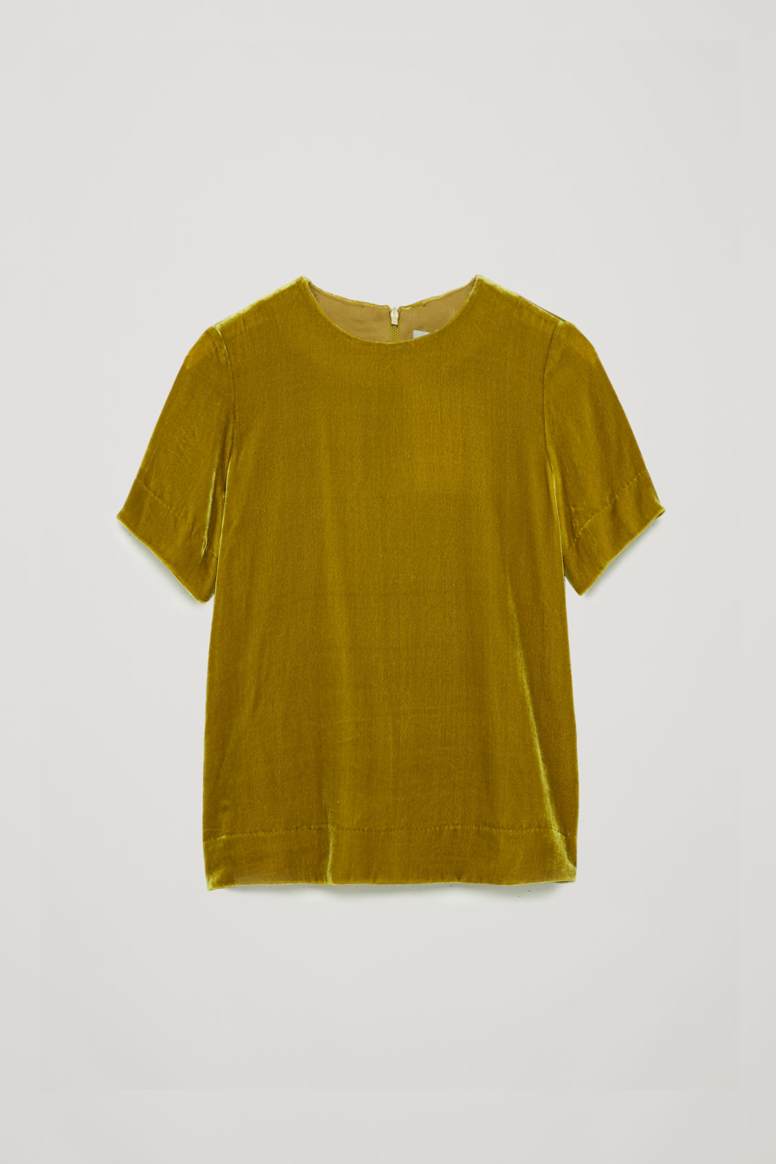 Front image of Cos short-sleeved velvet top in yellow